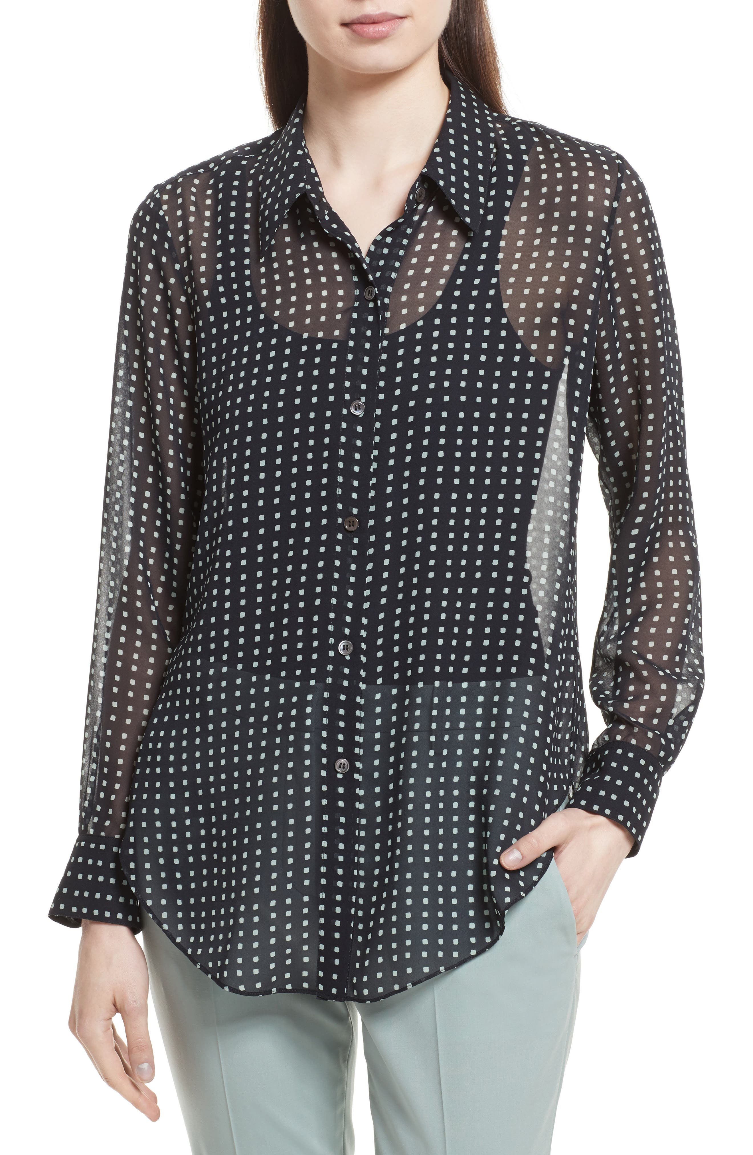 Alternate Image 1 Selected - Theory Sunaya Square Silk Chiffon Shirt