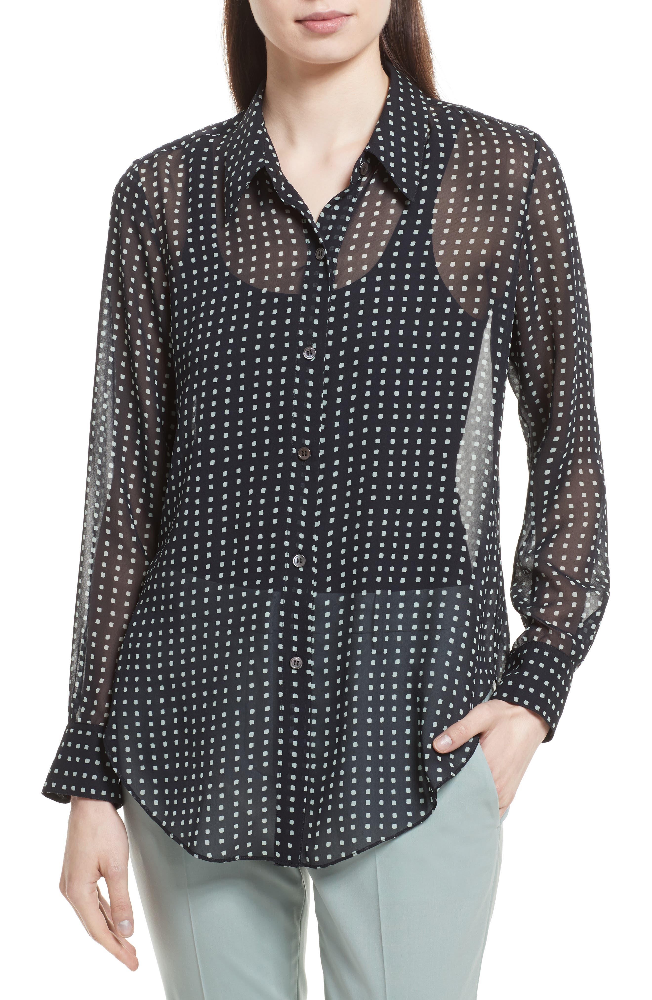 Sunaya Square Silk Chiffon Shirt,                             Main thumbnail 1, color,                             Deep Navy Multi