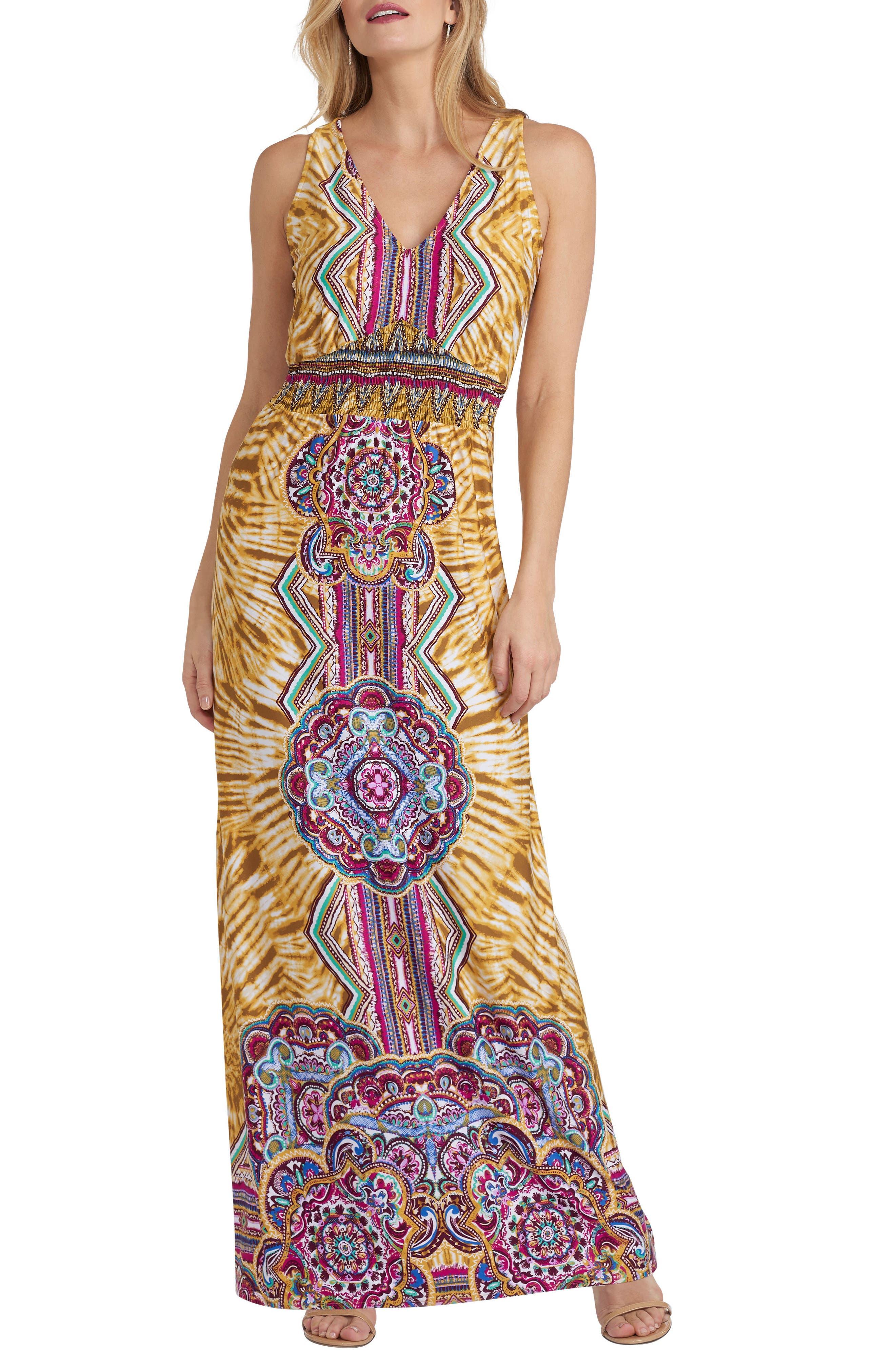Print Maxi Dress,                         Main,                         color, Yellow