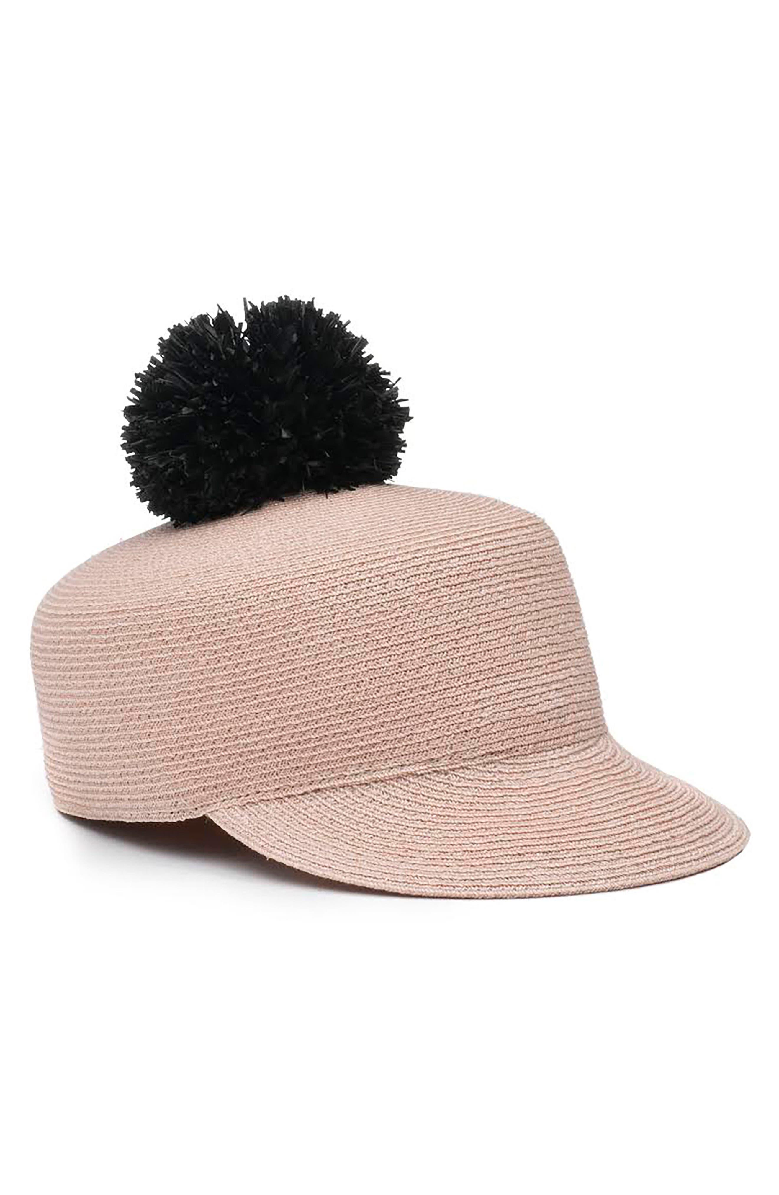 Pom Straw Hat,                         Main,                         color, Blush