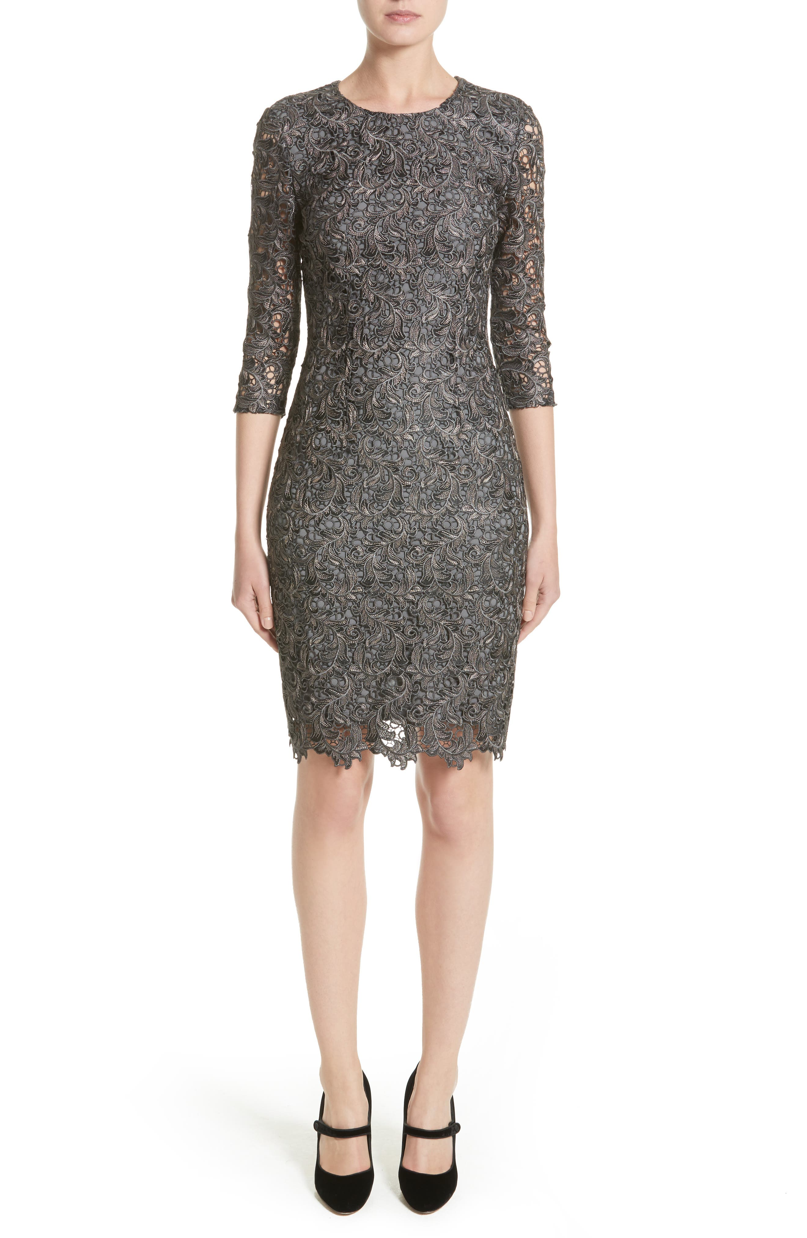 Plume Embroidered Lace Dress,                             Main thumbnail 1, color,                             Charcoal Multi