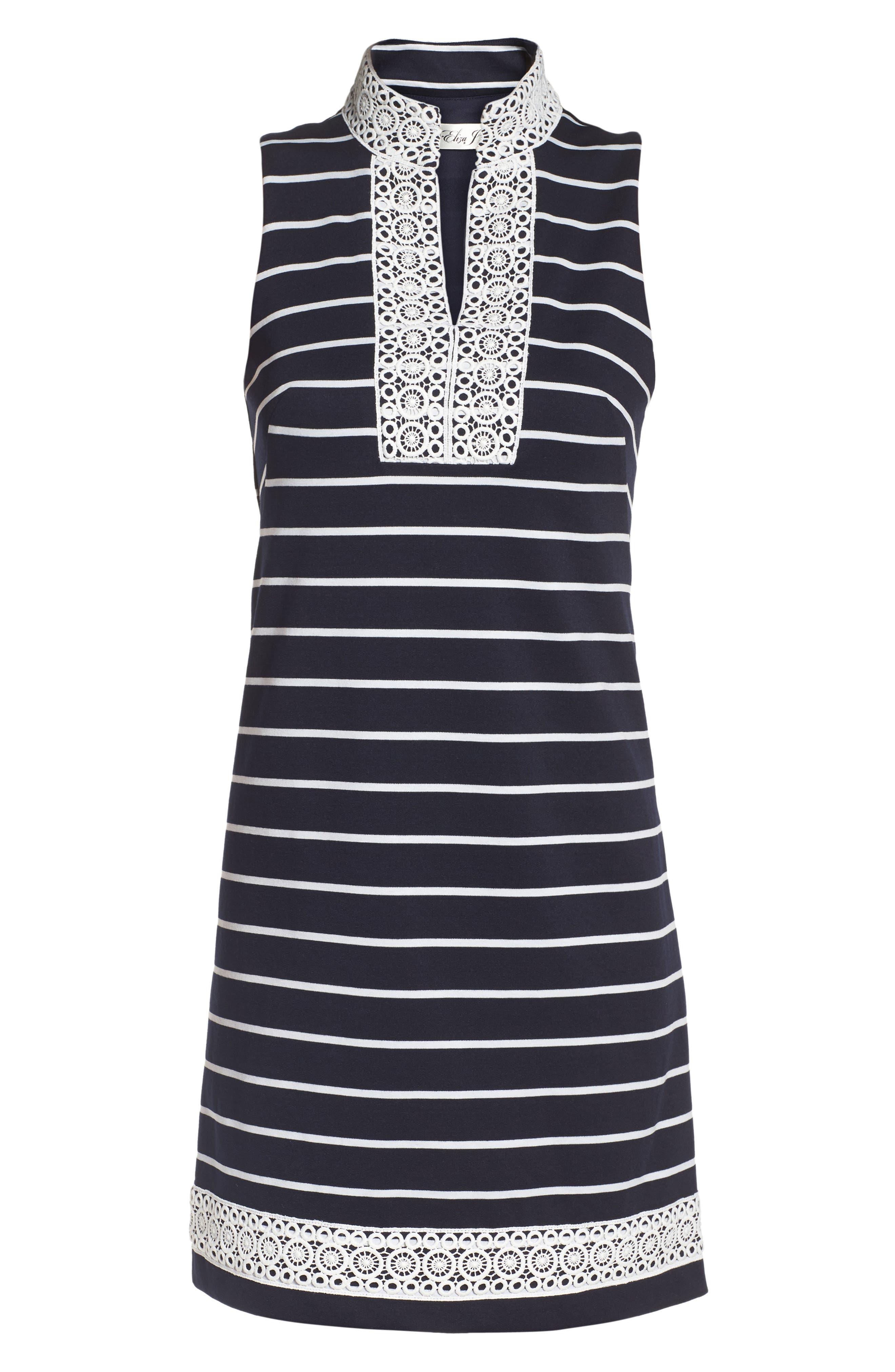 Mandarin Collar Shift Dress,                             Alternate thumbnail 6, color,                             Navy/ Ivory
