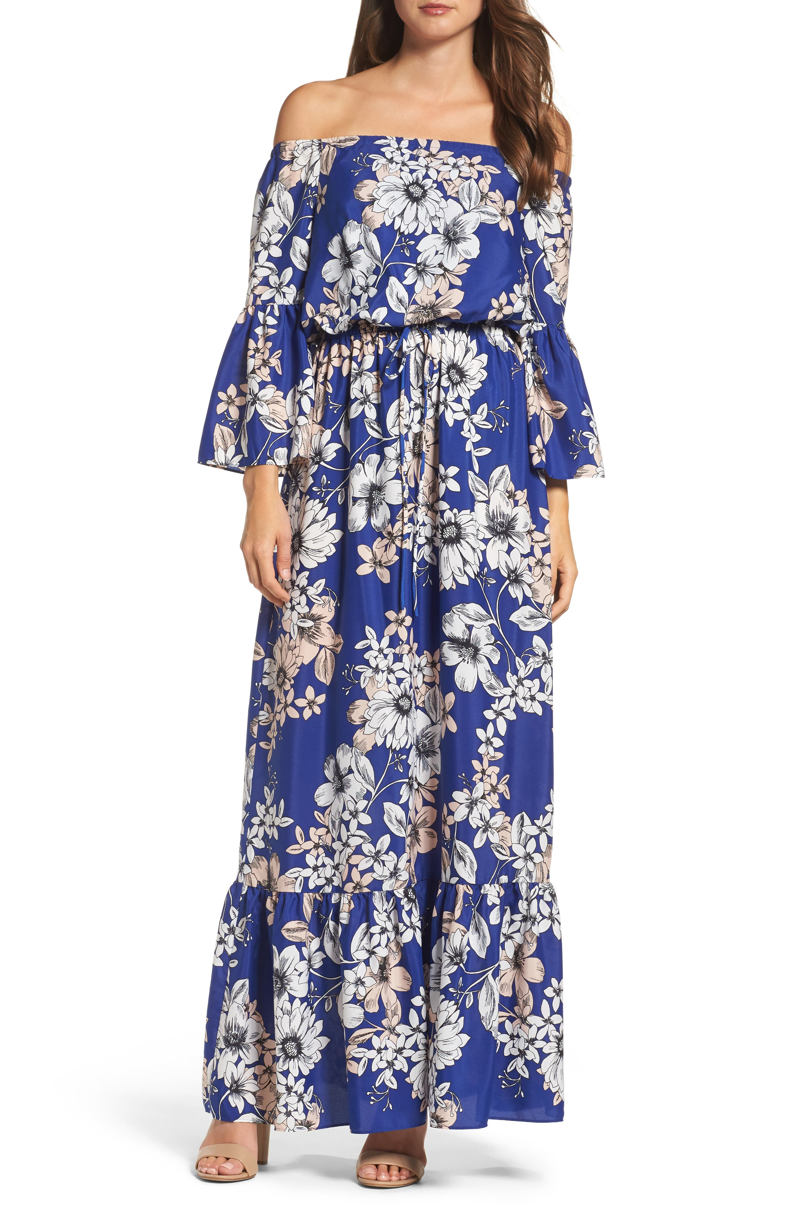 Off the Shoulder Floral Maxi Dress,                         Main,                         color, Cobalt