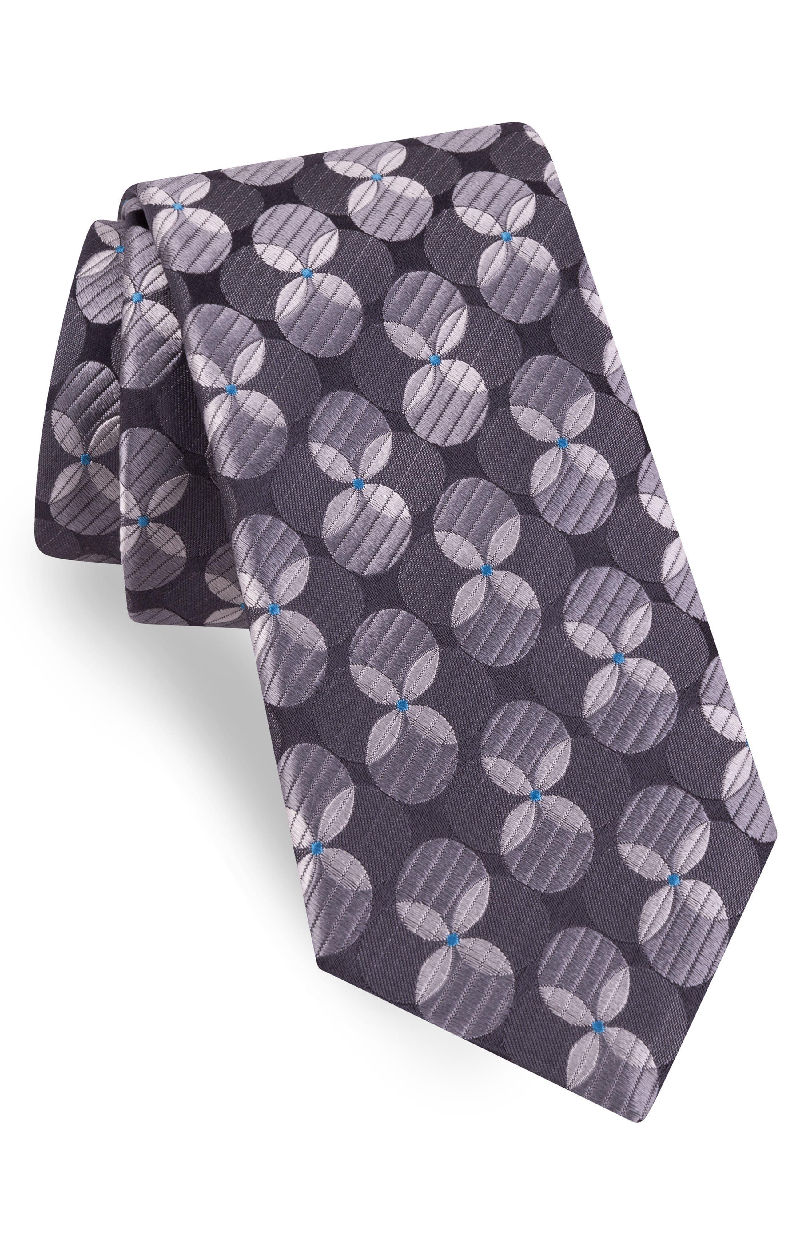 Geometric Silk Tie,                         Main,                         color, Charcoal