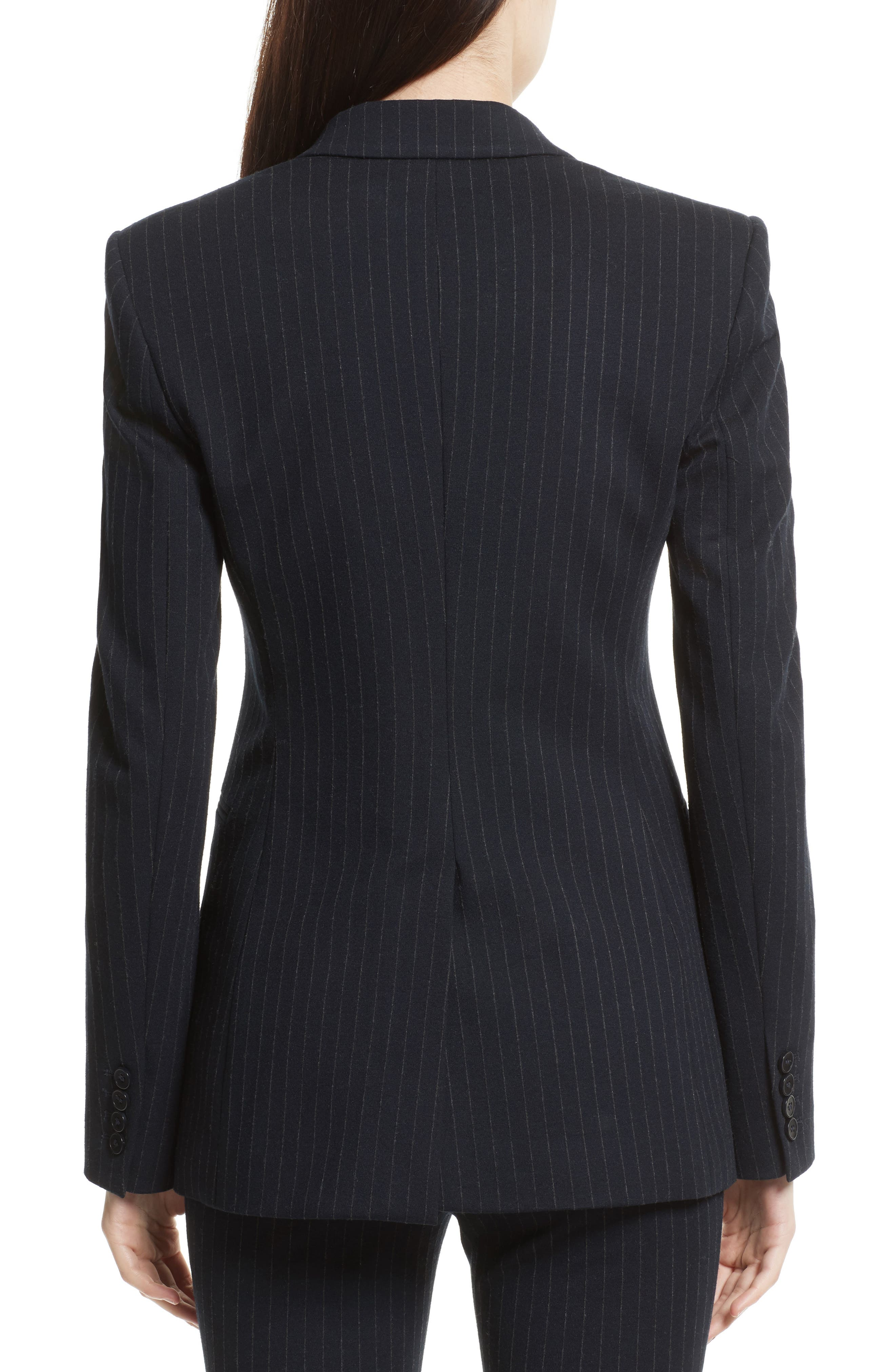 Pinstripe Power Blazer,                             Alternate thumbnail 3, color,                             Deep Navy