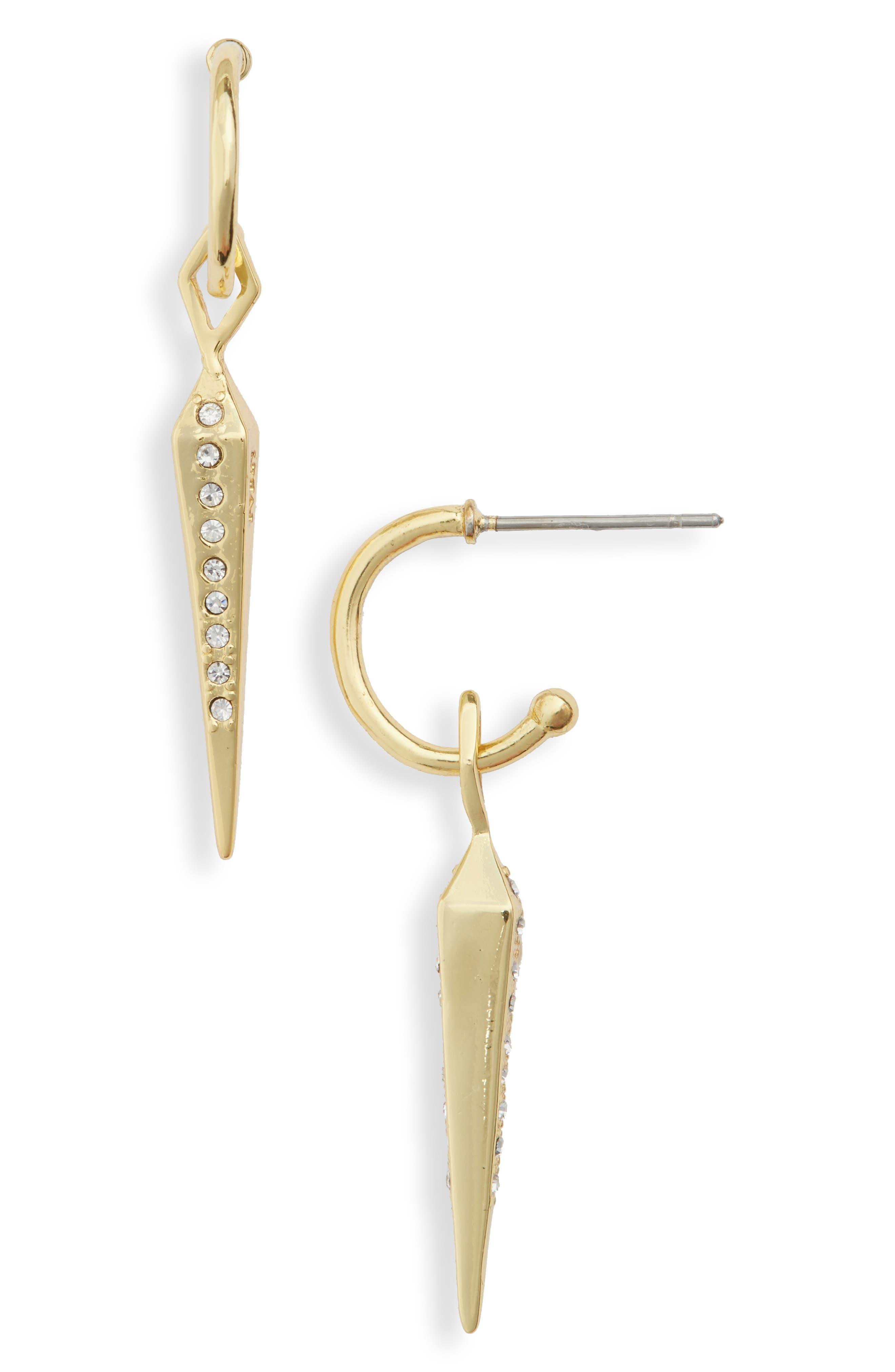 Spike Drop Earrings,                         Main,                         color, Gold