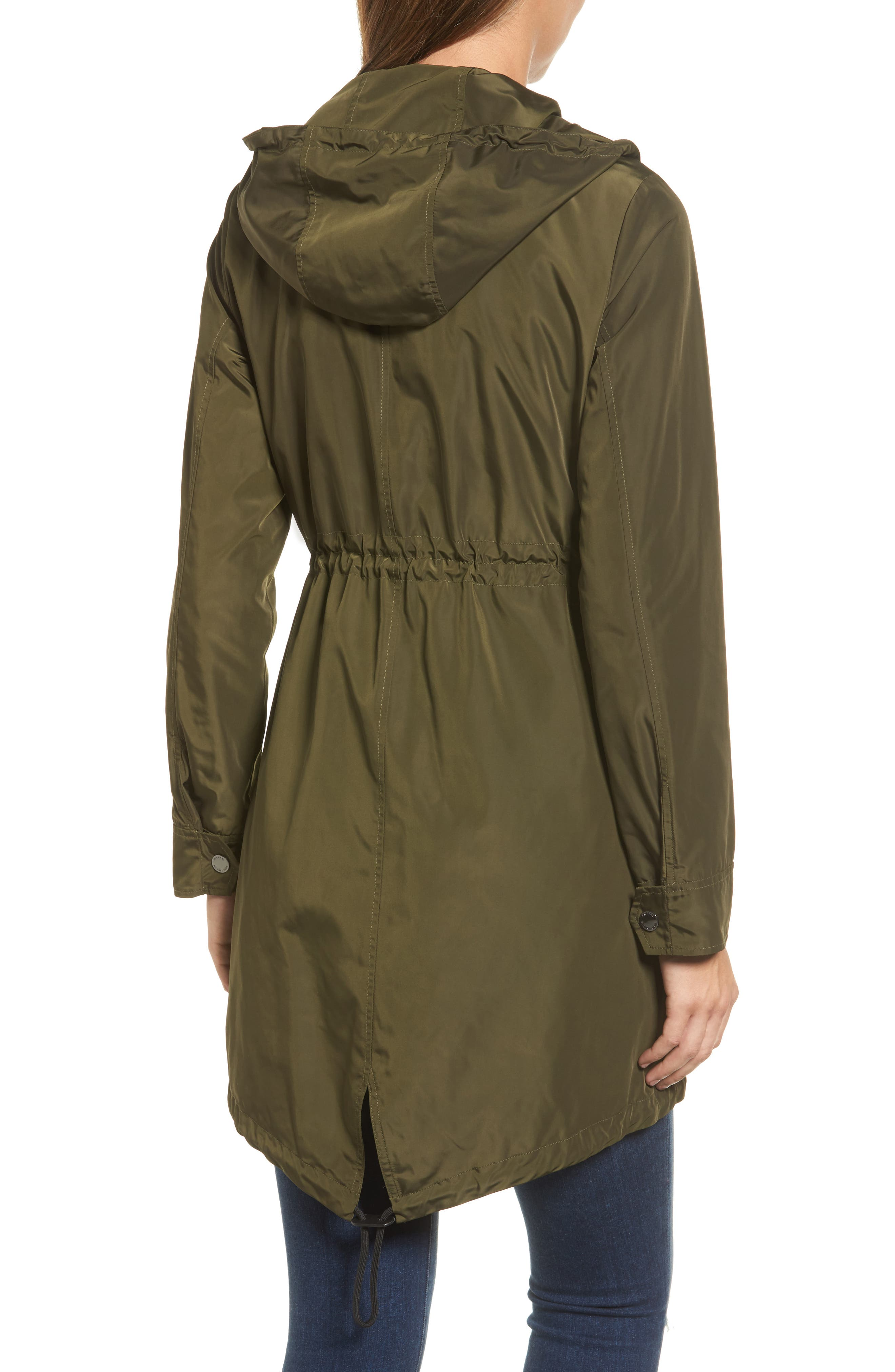 Hooded Drawstring Long Coat,                             Alternate thumbnail 3, color,                             Olive