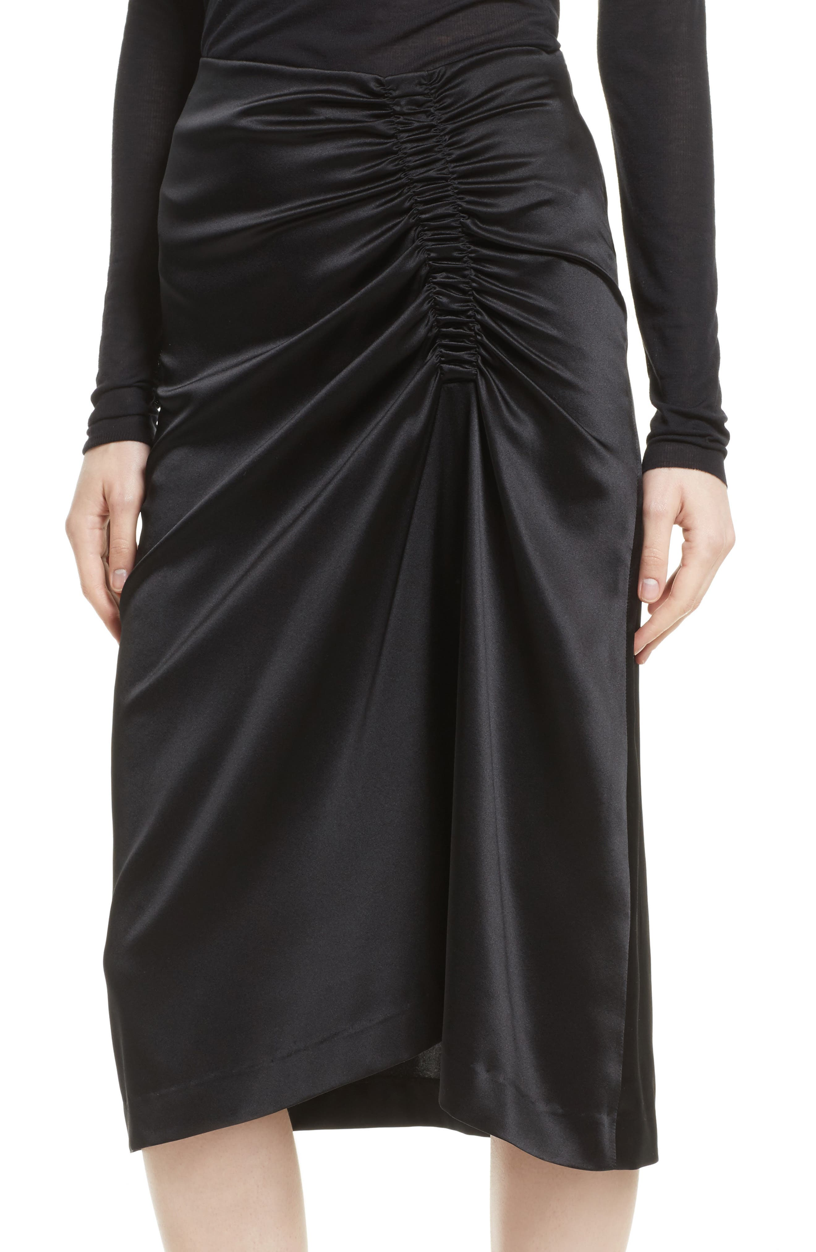 Ruched Stretch Satin Skirt,                             Alternate thumbnail 4, color,                             Black