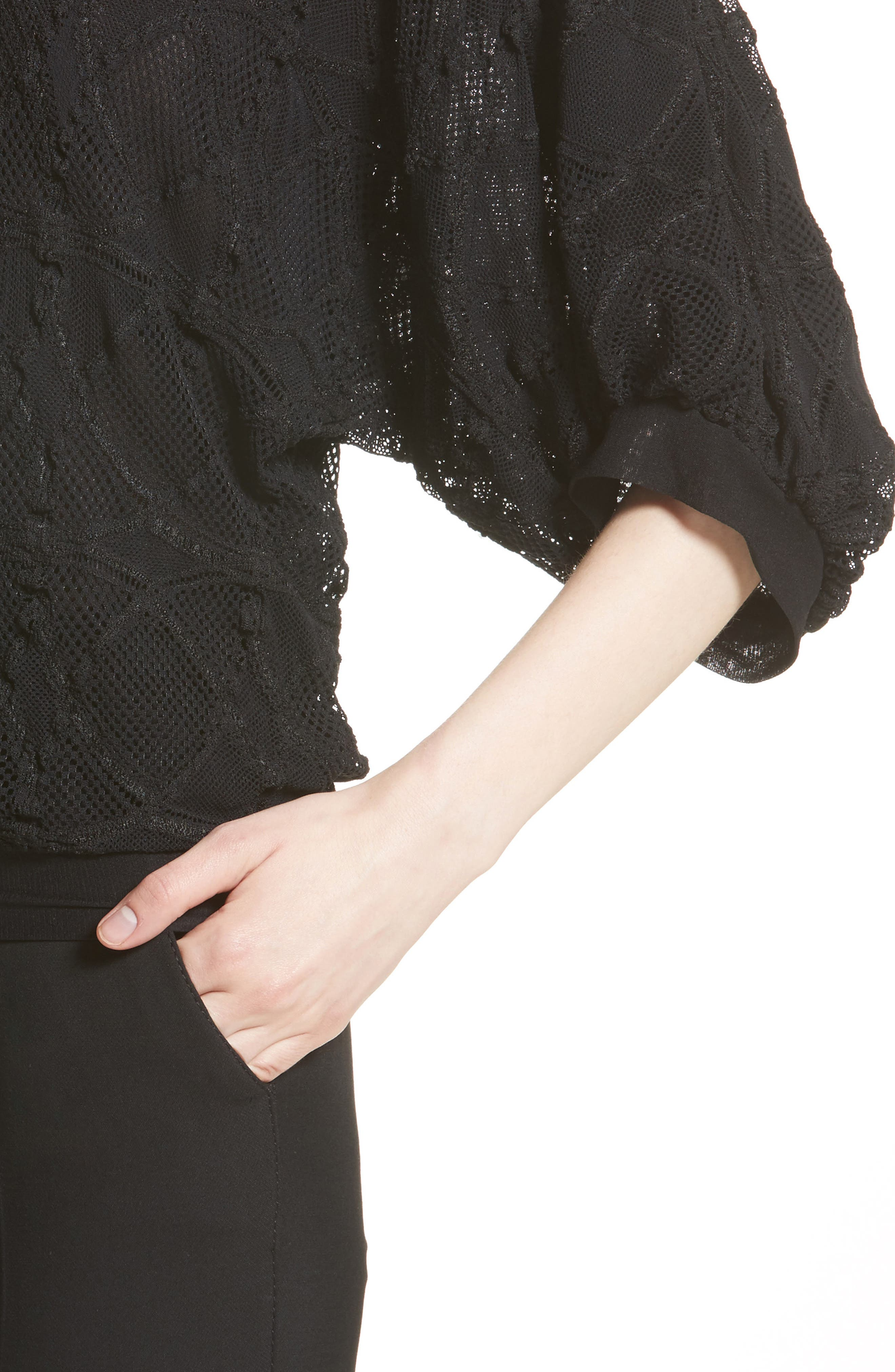 Lace Cocoon Sleeve Top,                             Alternate thumbnail 6, color,                             Nero