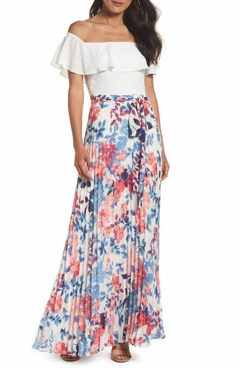 f5025dc9531e Eliza J Off the Shoulder Floral Maxi Dress