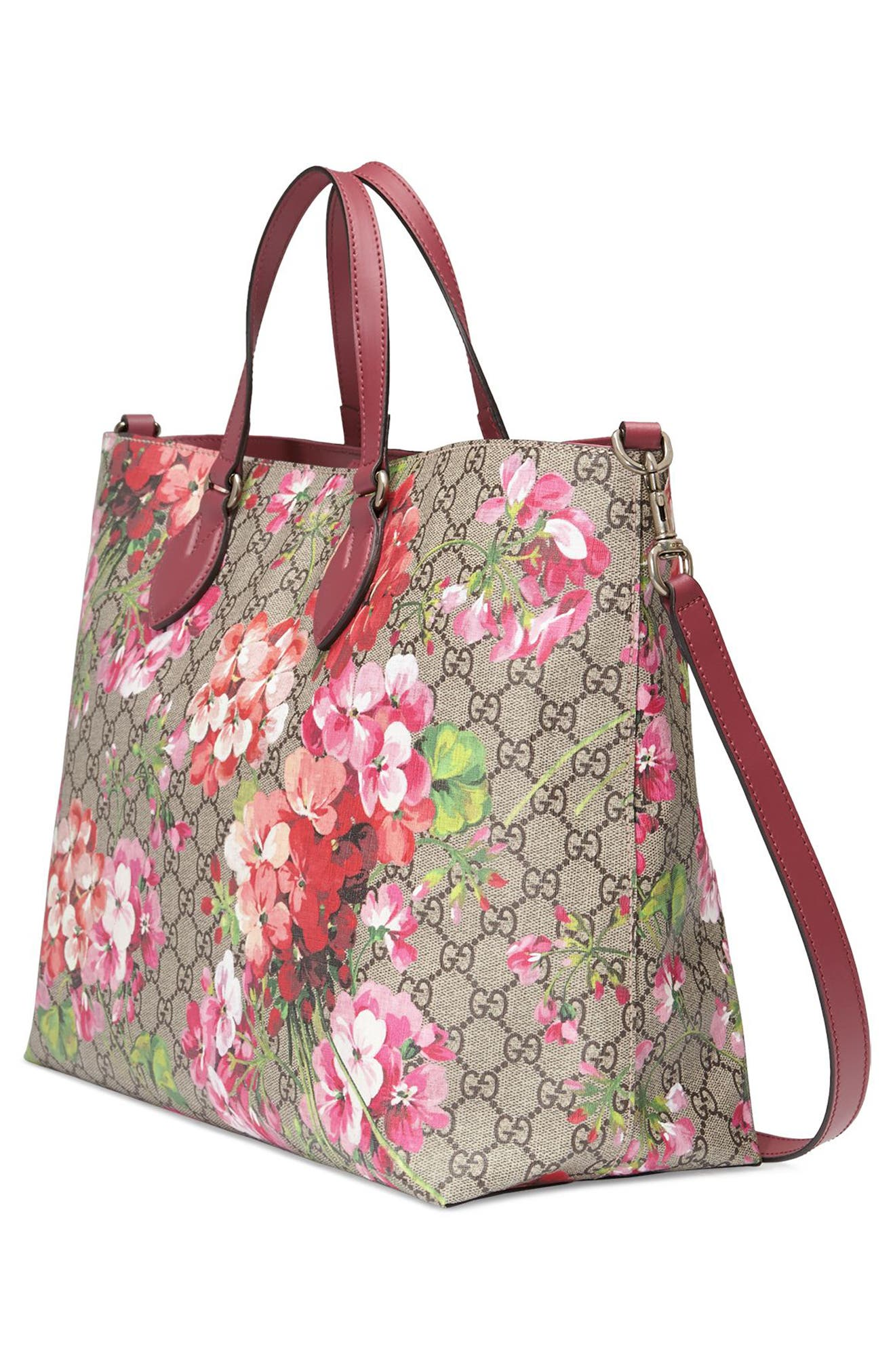 Soft GG Blooms Tote,                             Alternate thumbnail 4, color,                             Beige Ebony/Dry Rose