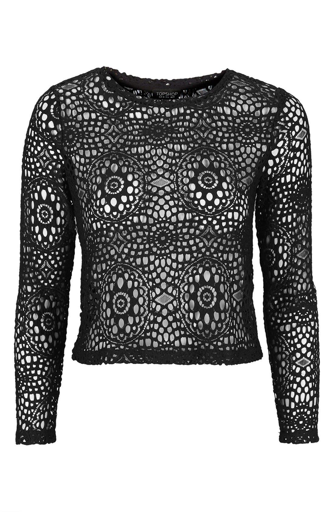 Long Sleeve Crochet Top,                             Alternate thumbnail 3, color,                             Black
