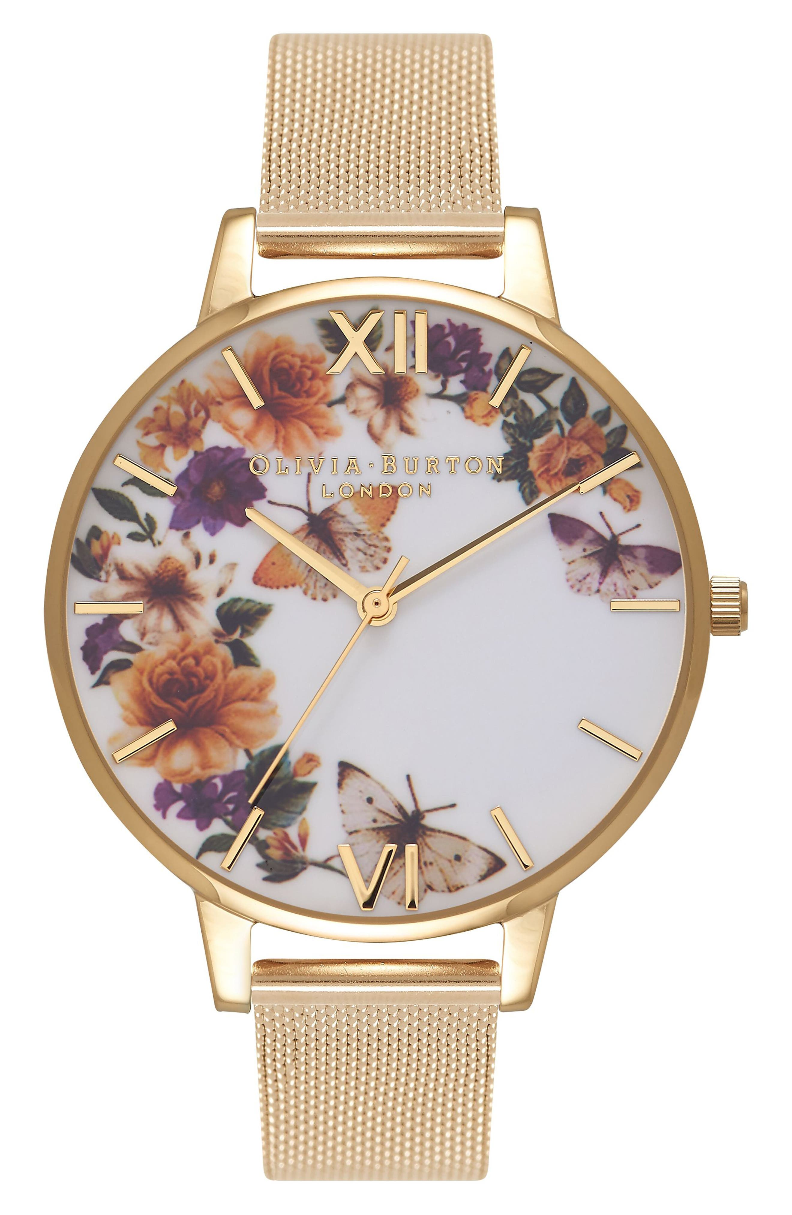 arden Mesh Strap Watch, 38mm,                         Main,                         color, Gold/ Floral/ Gold