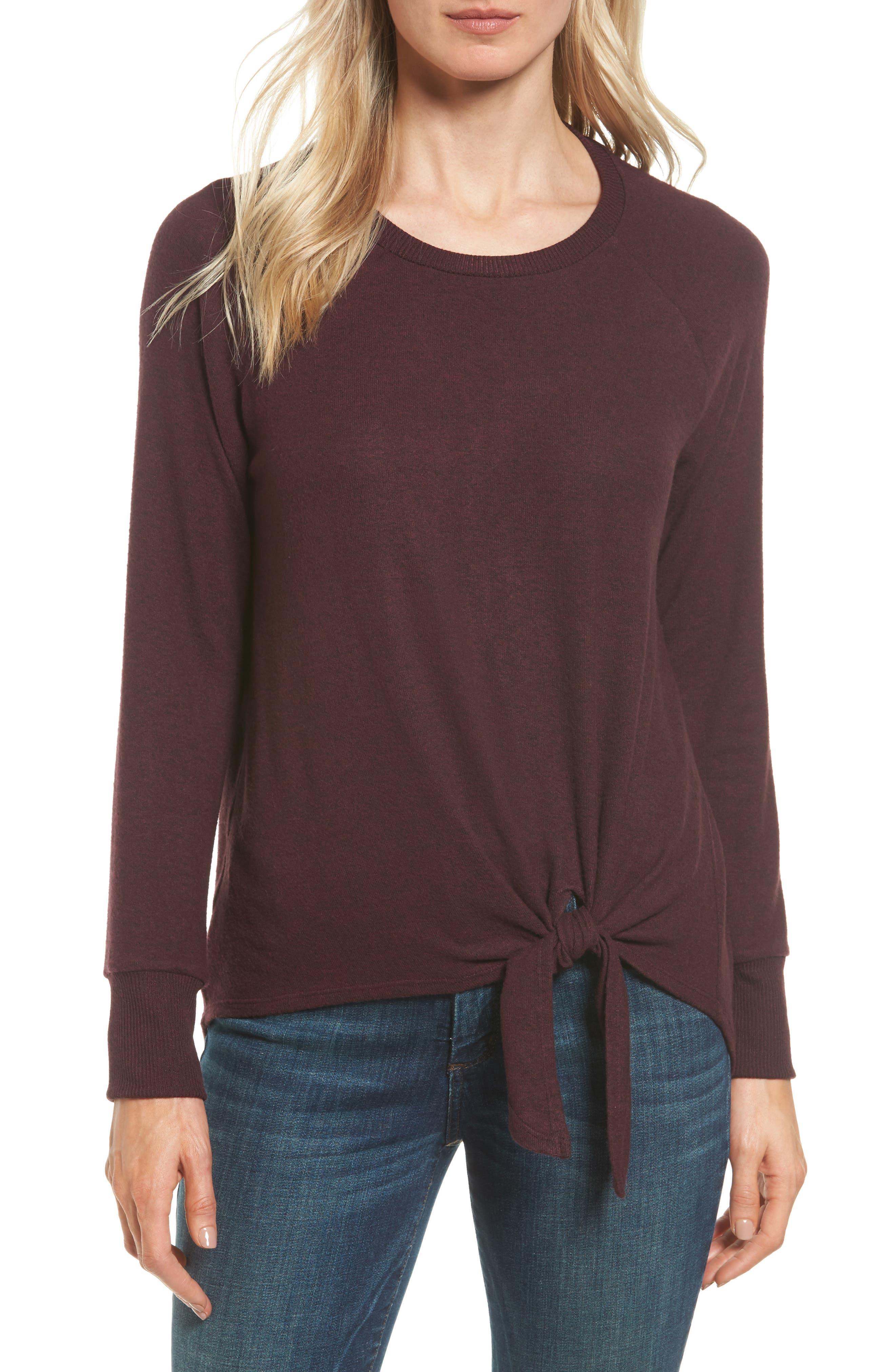 Tie Front Cozy Fleece Pullover,                         Main,                         color, Burgundy