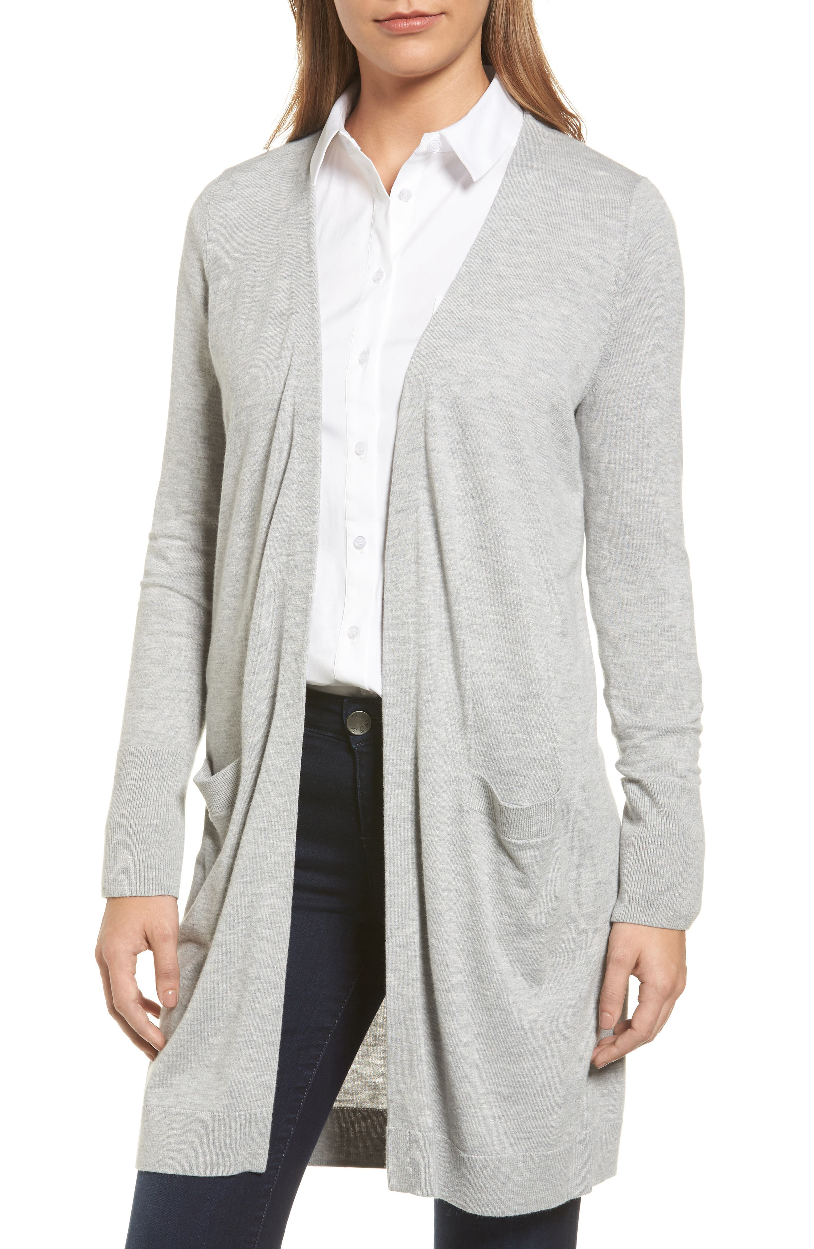 Alternate Image 4  - Halogen® Long Open Front Cardigan (Regular & Petite)