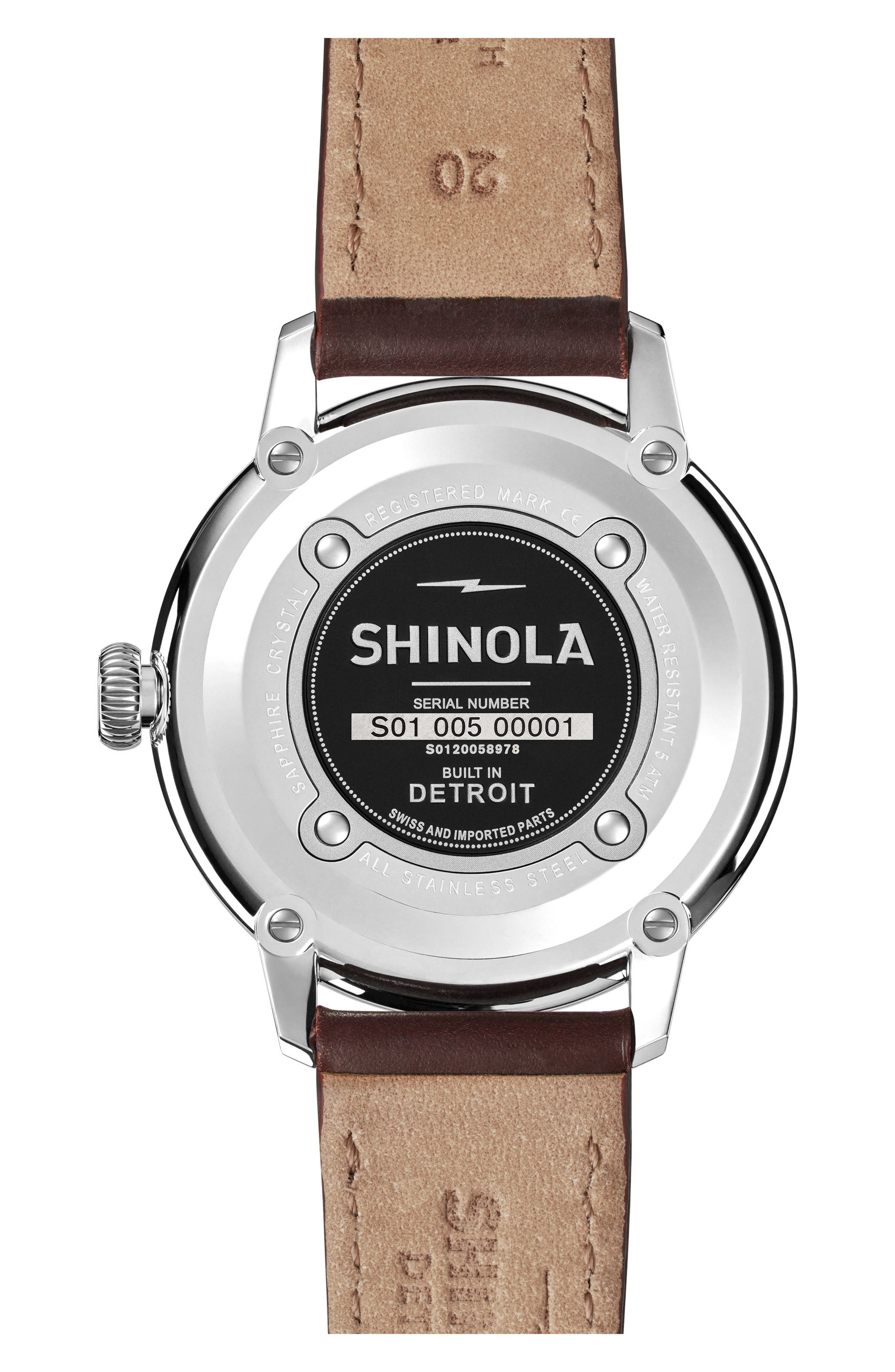 Bedrock Leather Strap Watch, 42mm,                             Alternate thumbnail 6, color,                             Oxblood/ White