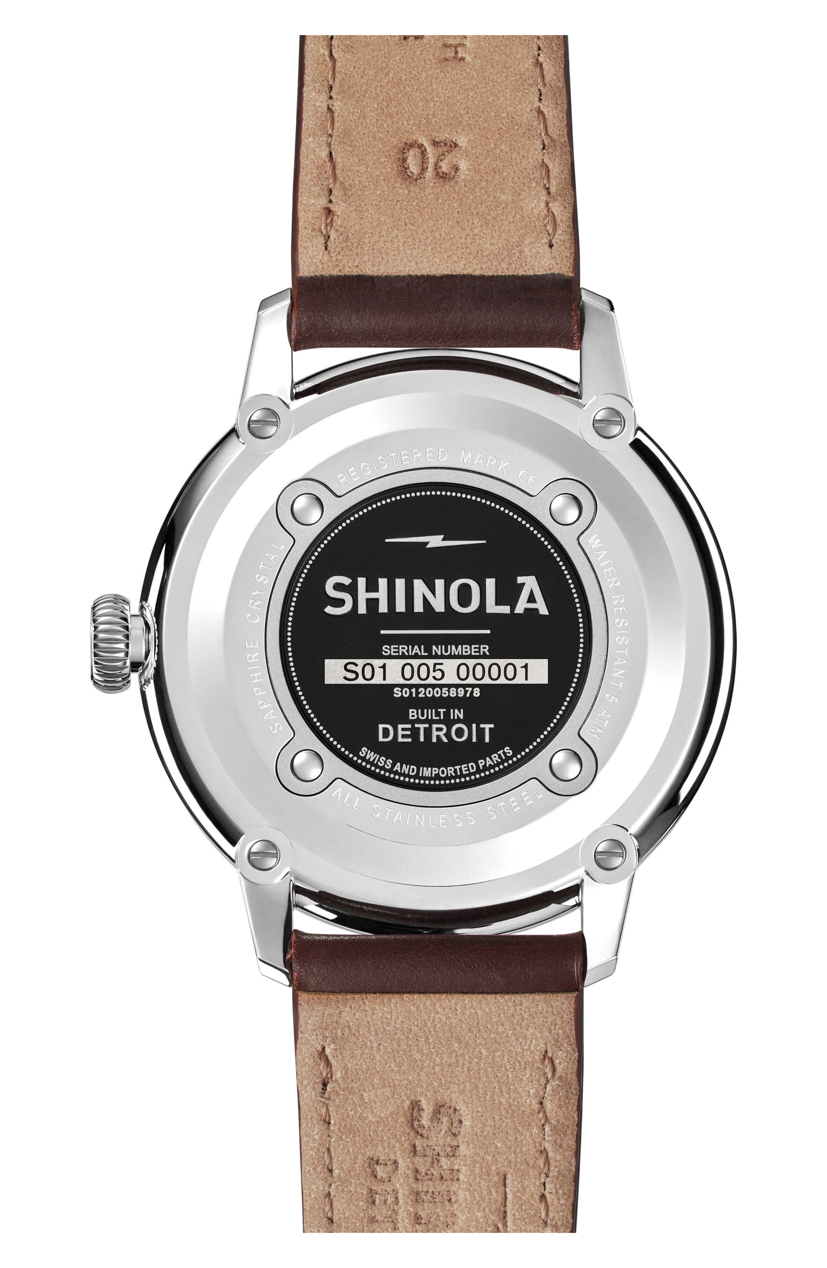 Alternate Image 6  - Shinola Bedrock Leather Strap Watch, 42mm
