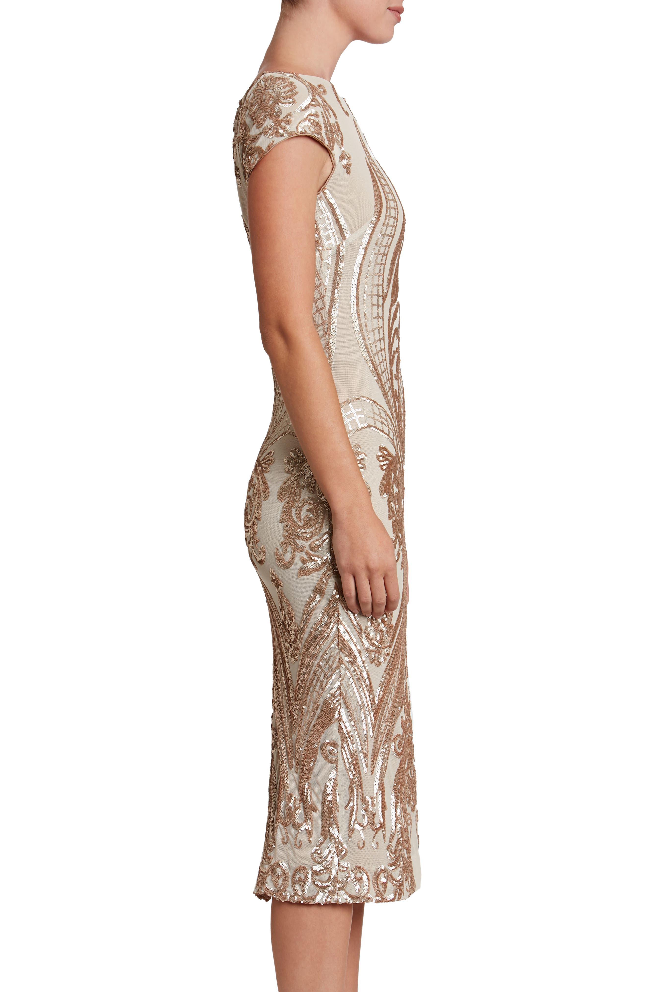 Brandi Sequin Body-Con Dress,                             Alternate thumbnail 4, color,                             Champagne/ Nude
