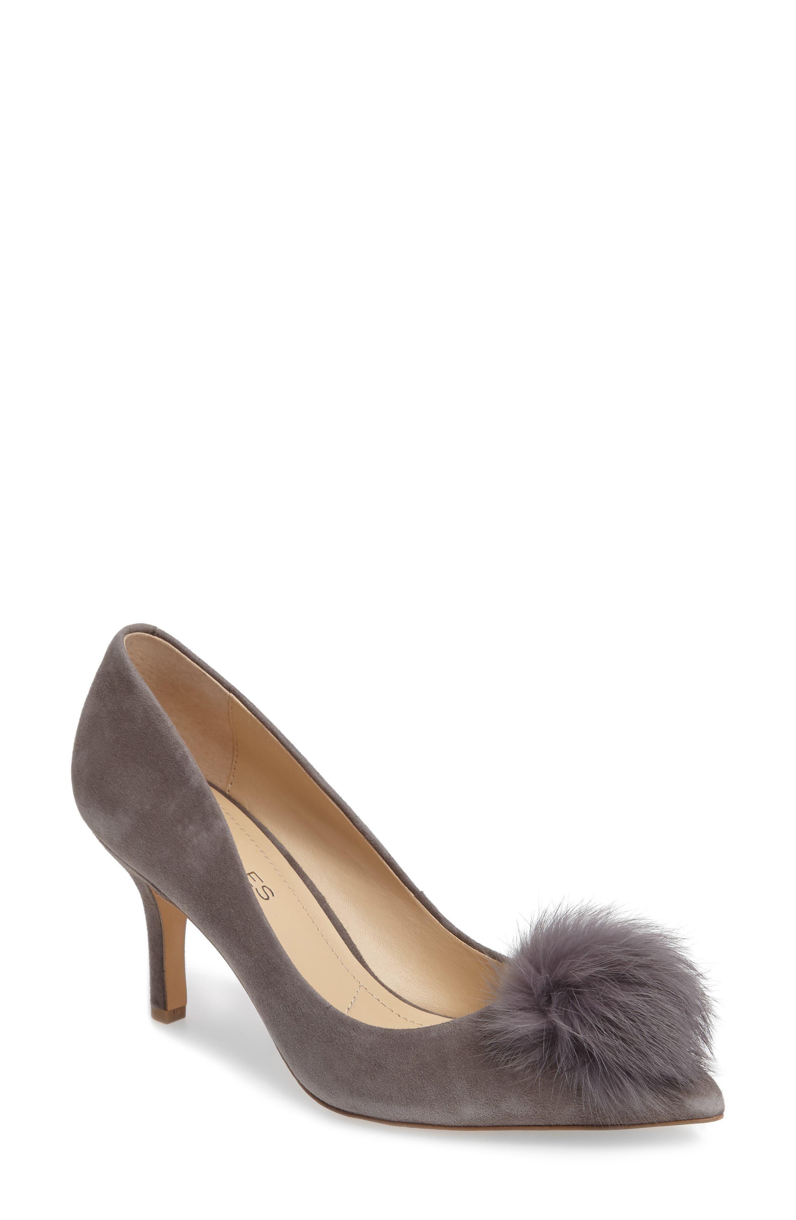 Sadie Genuine Rabbit Fur Pom Pump,                             Main thumbnail 1, color,                             Slate Suede