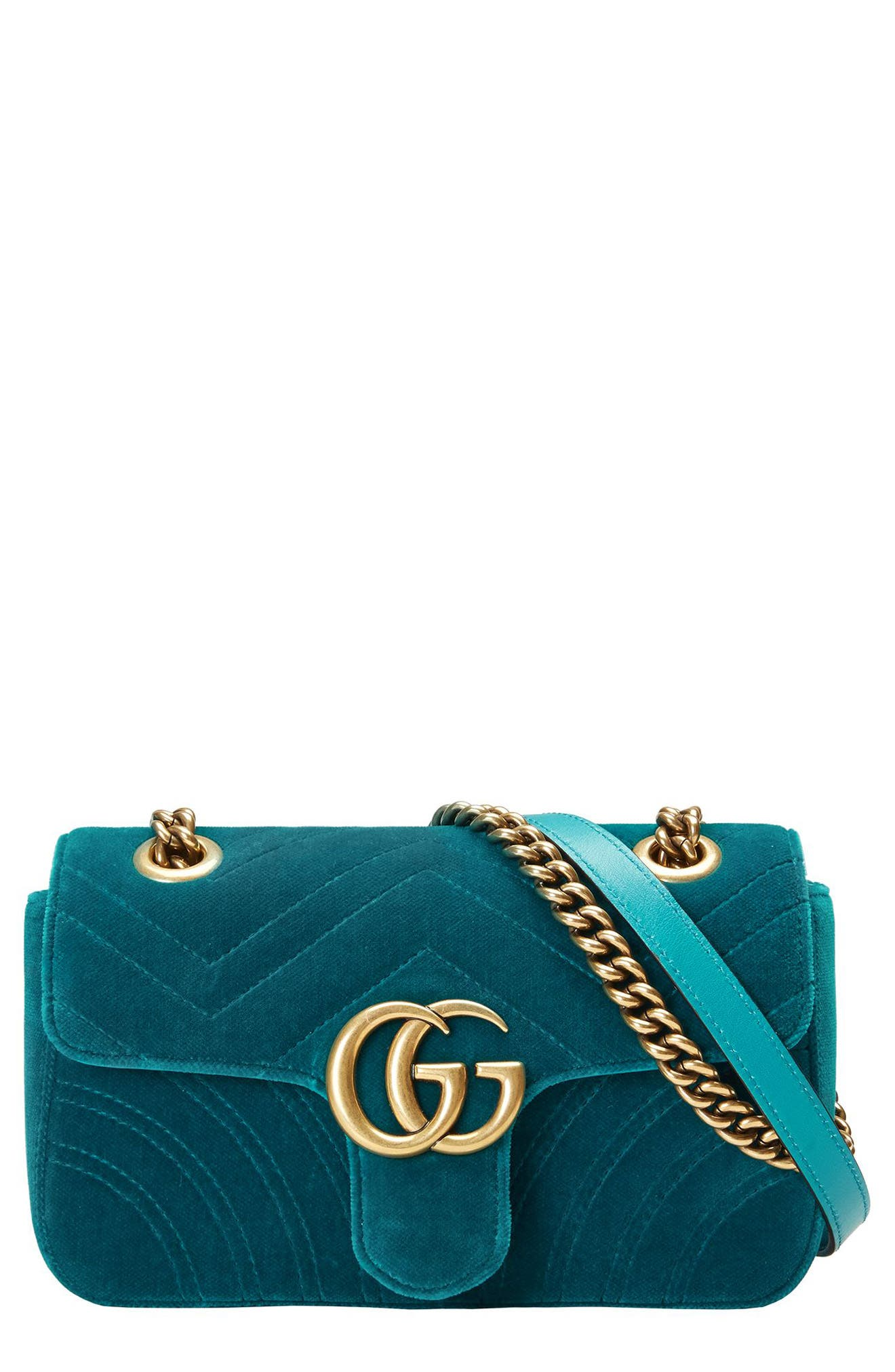 Gucci Small GG Marmont 2.0 Matelassé Velvet Shoulder Bag