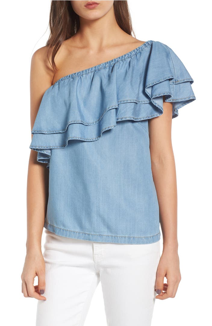 Chelsea28 one shoulder chambray top nordstrom for Chambray top