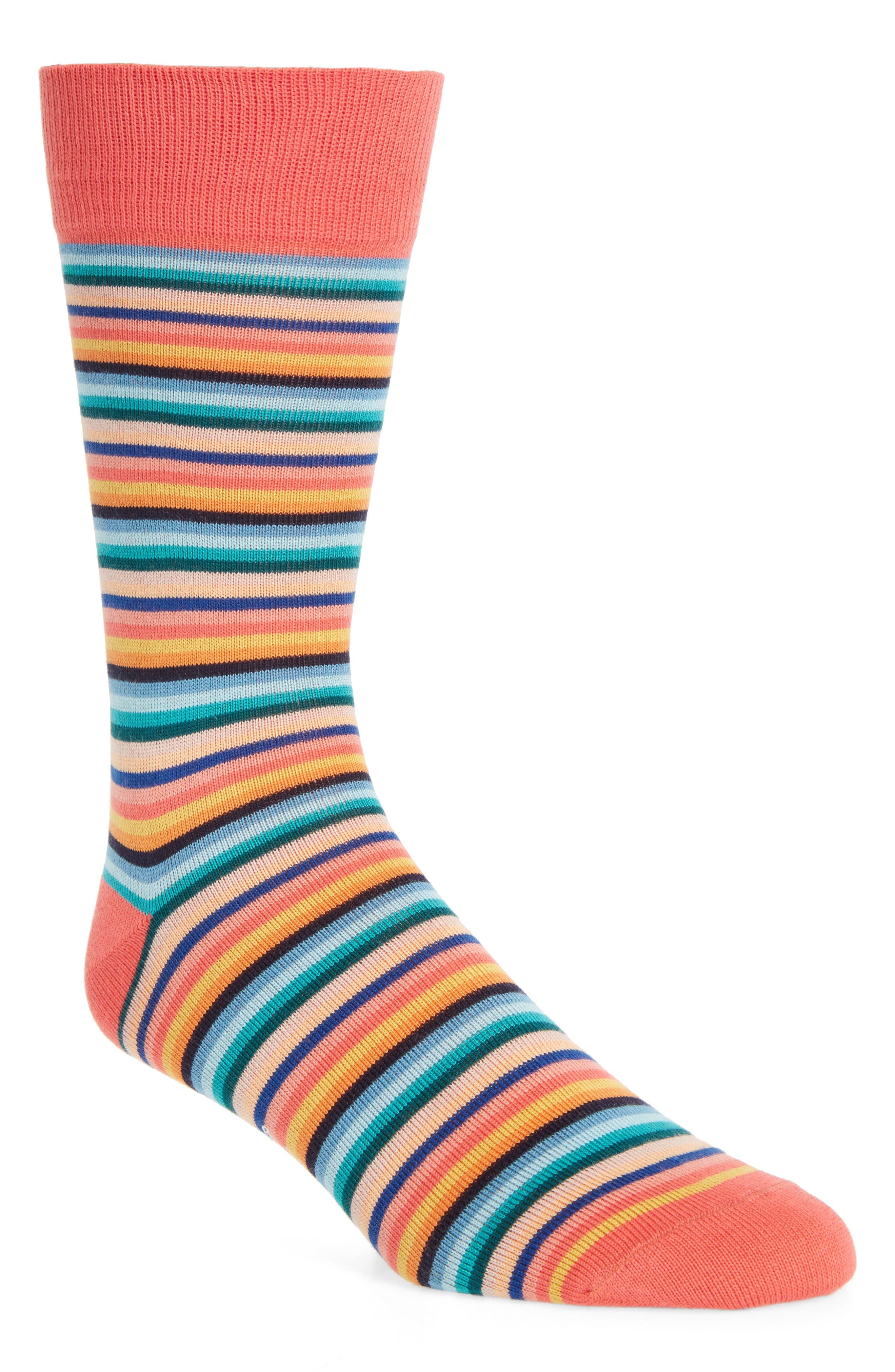 Degradé Stripe Socks,                         Main,                         color, Orange