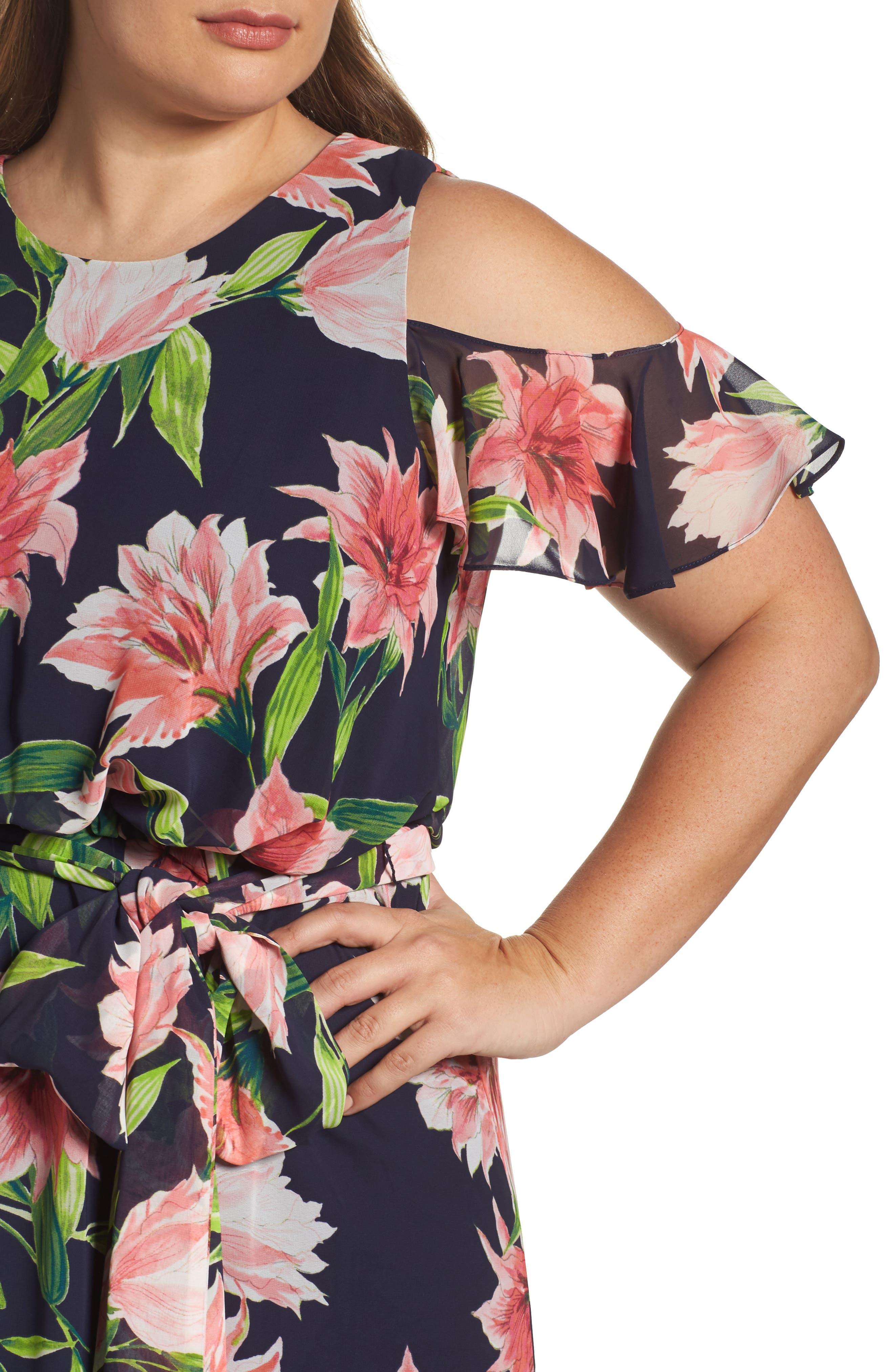 Alternate Image 4  - Eliza J Floral Chiffon Cold Shoulder Maxi Dress (Plus Size)