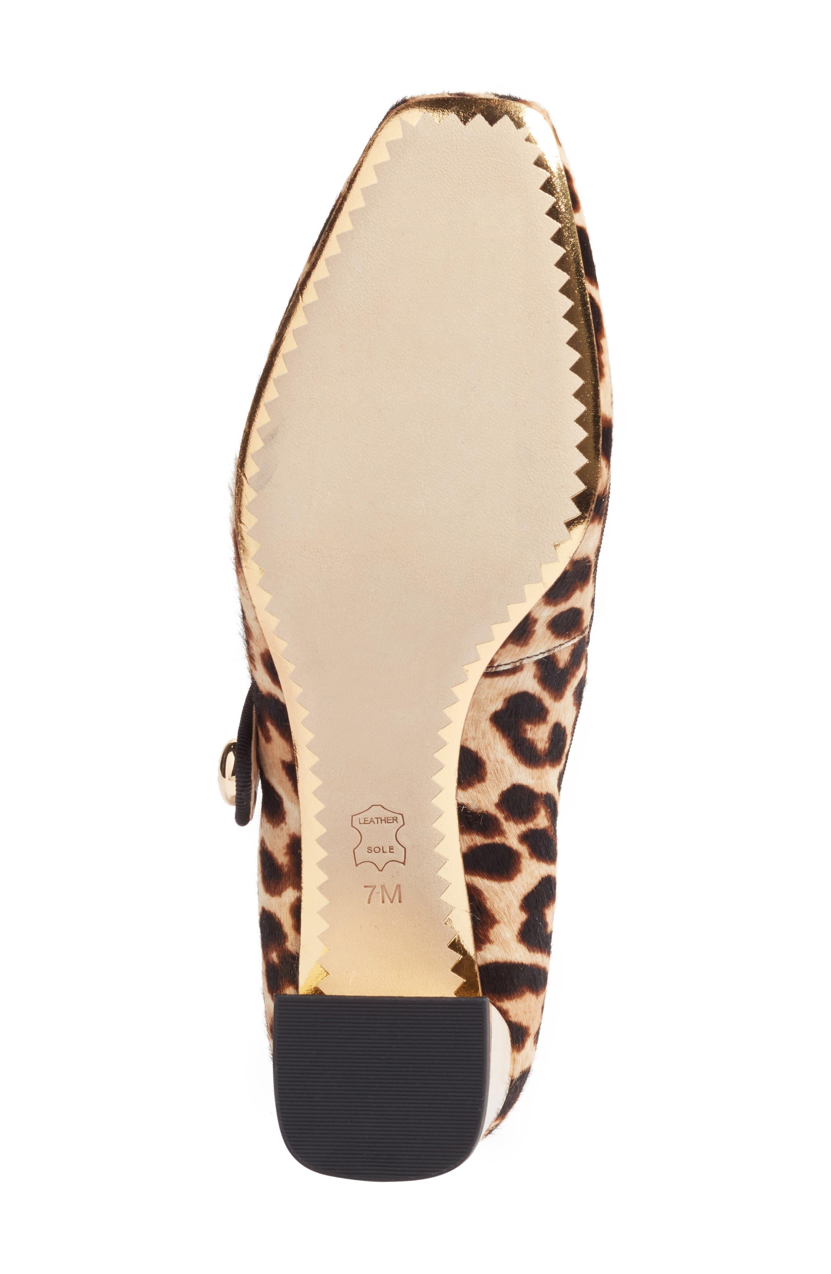 Marisa Genuine Calf Hair Mary Jane Pump,                             Alternate thumbnail 5, color,                             Natural Leopard/ Black