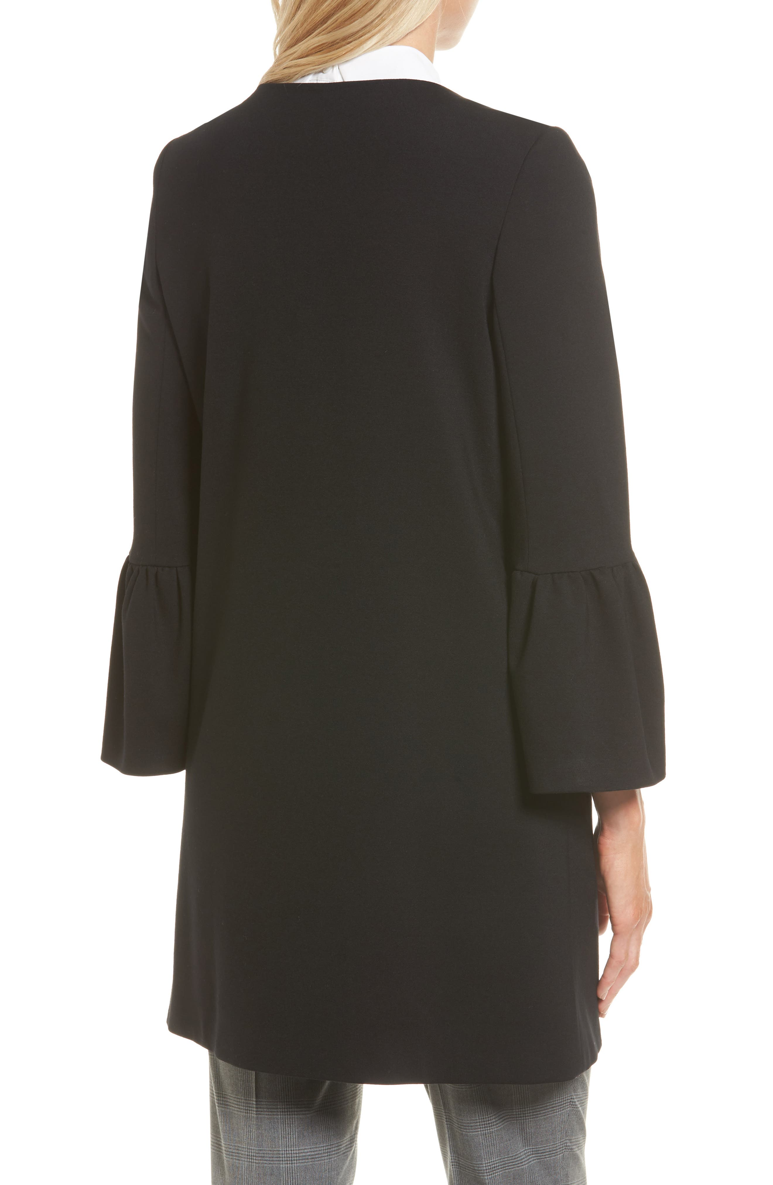 Trumpet Sleeve Coat,                             Alternate thumbnail 2, color,                             Black