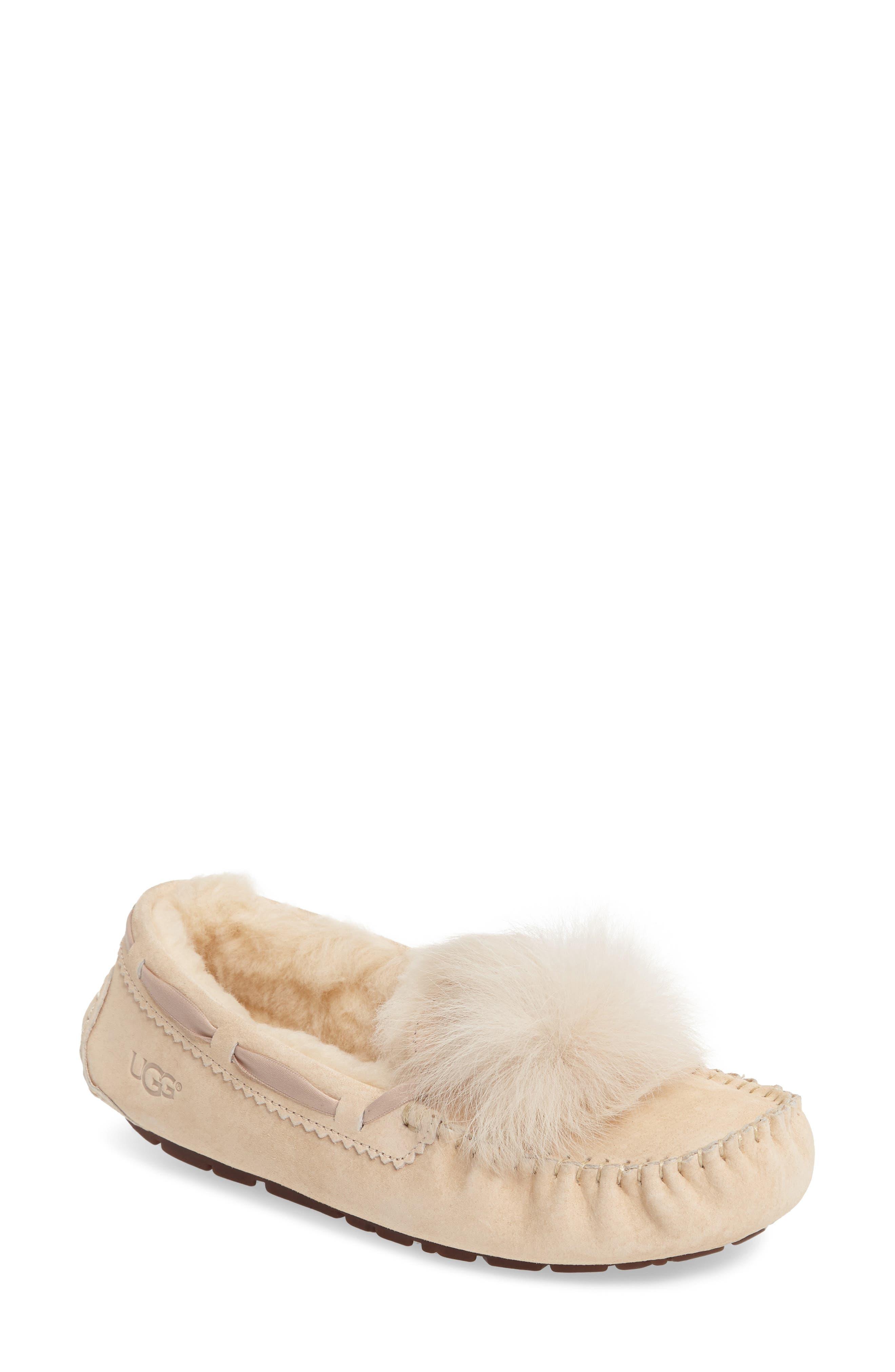 UGG® Dakota Genuine Shearling Pompom Slipper (Women)