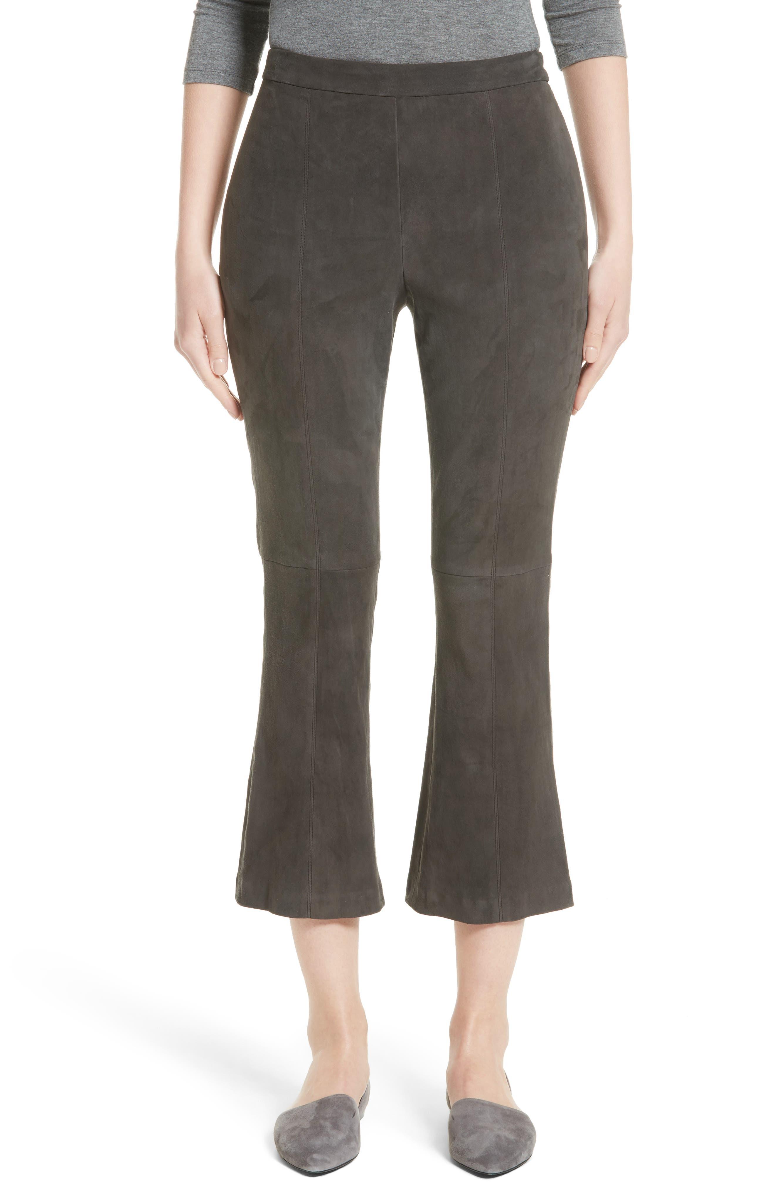 Stretch Suede Capri Pants,                         Main,                         color, Hematite