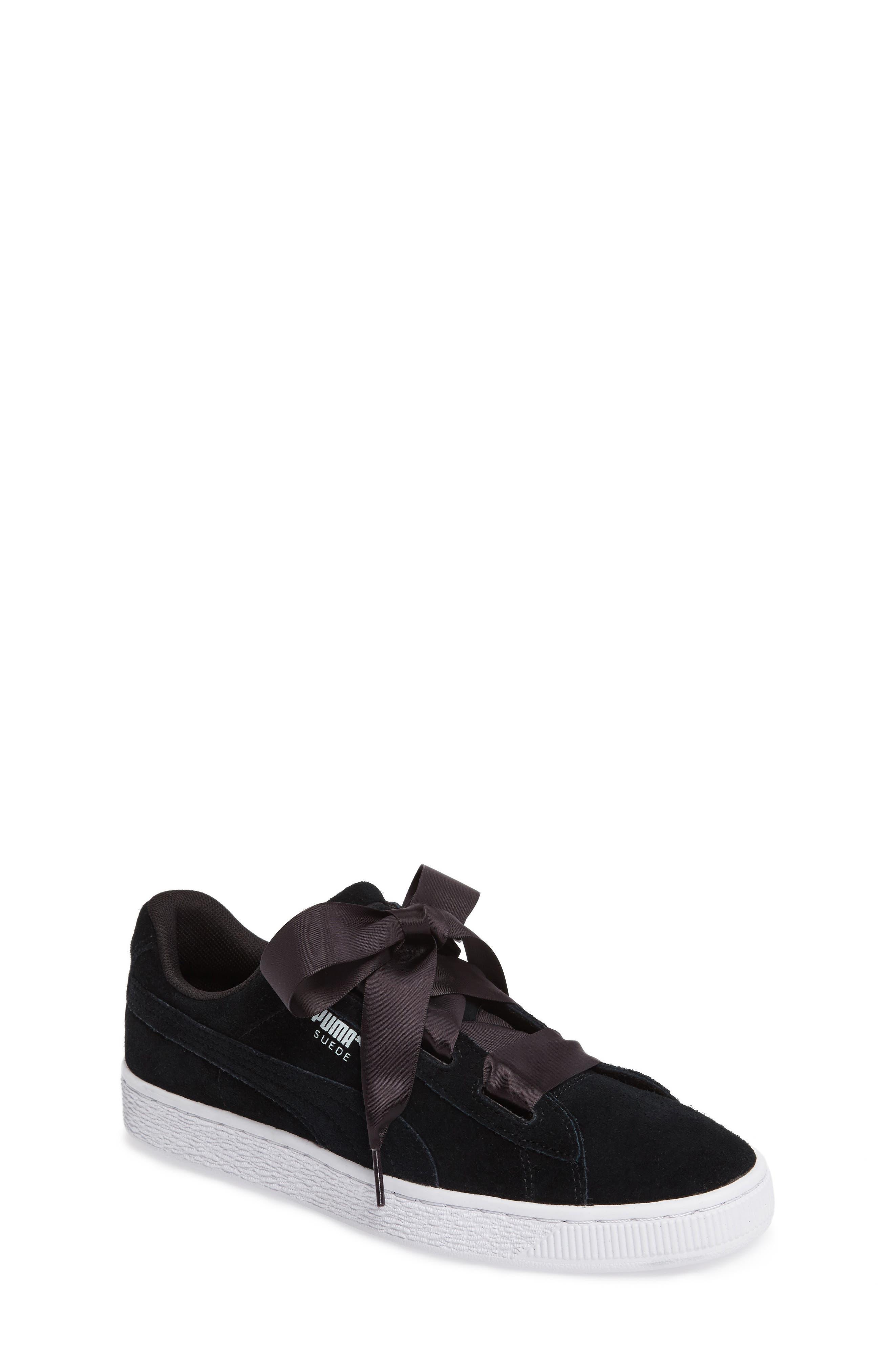 Suede Heart Sneaker,                         Main,                         color, Puma Black
