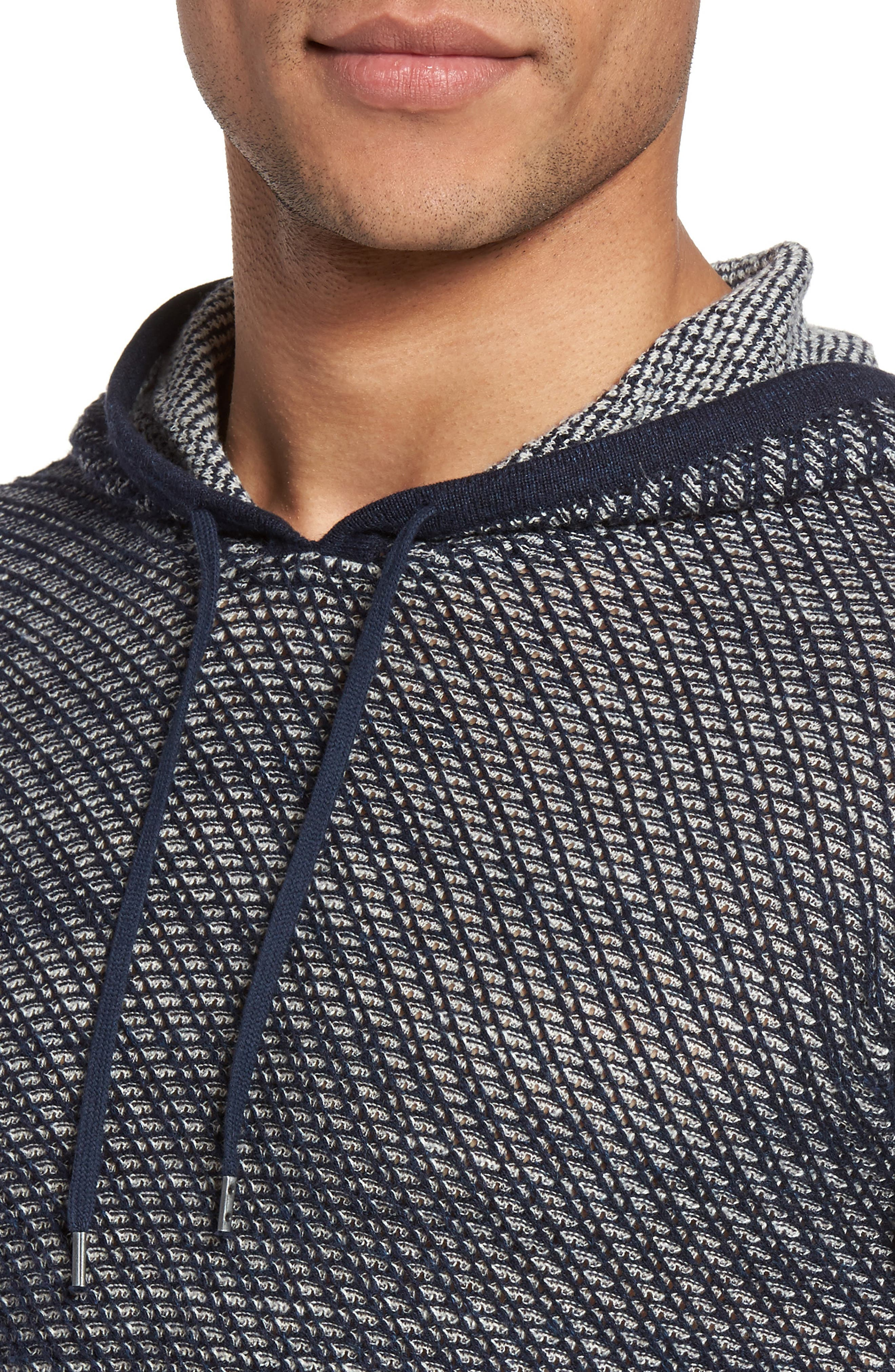 Textured Knit Hoodie,                             Alternate thumbnail 4, color,                             Ink Blue