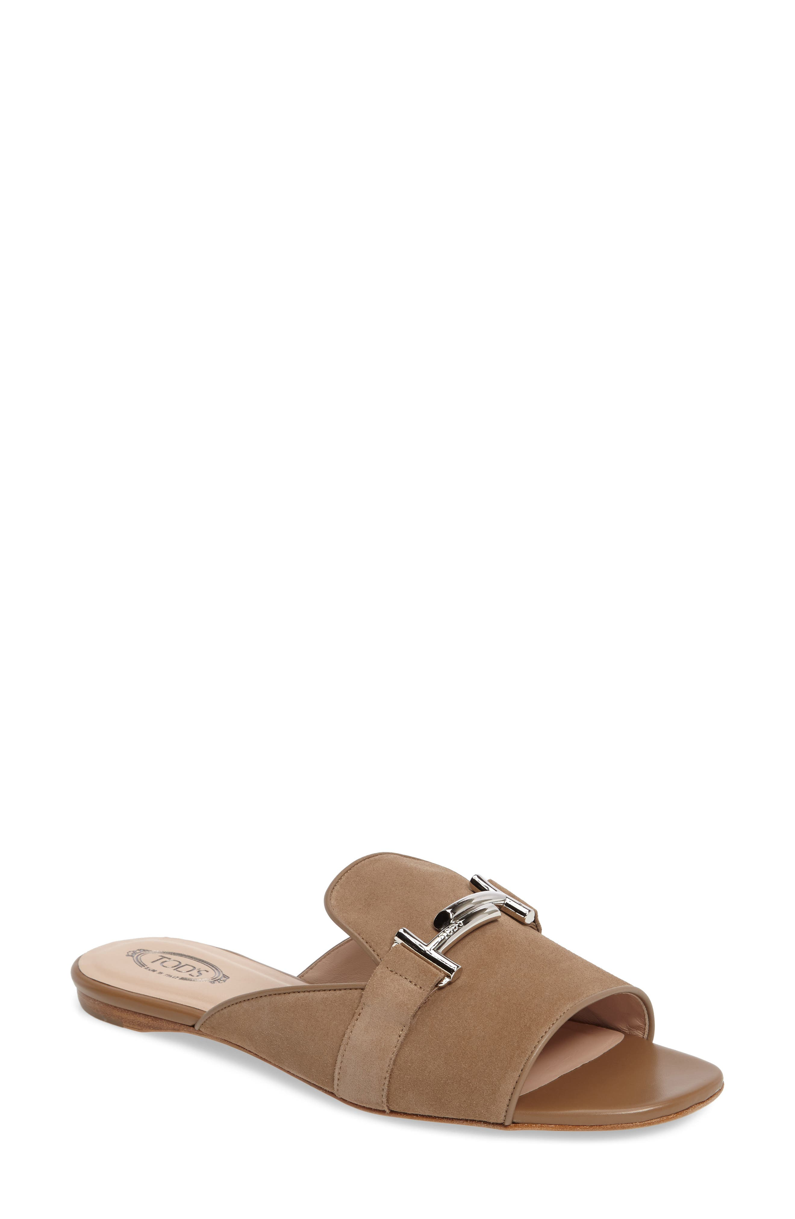 Double T Open Toe Loafer Mule,                         Main,                         color, Tan