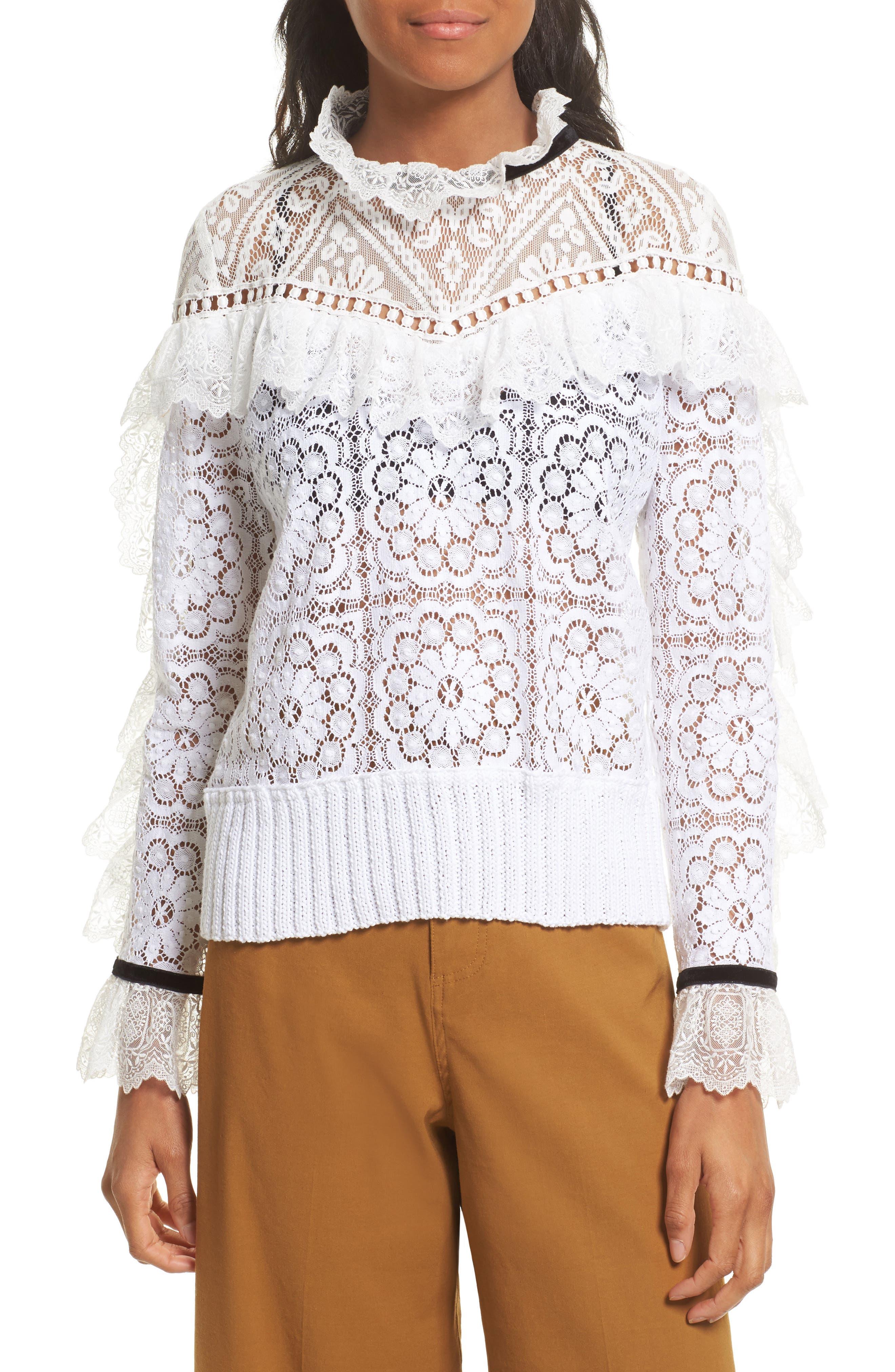 Main Image - Sea Ruffle Lace Sweatshirt