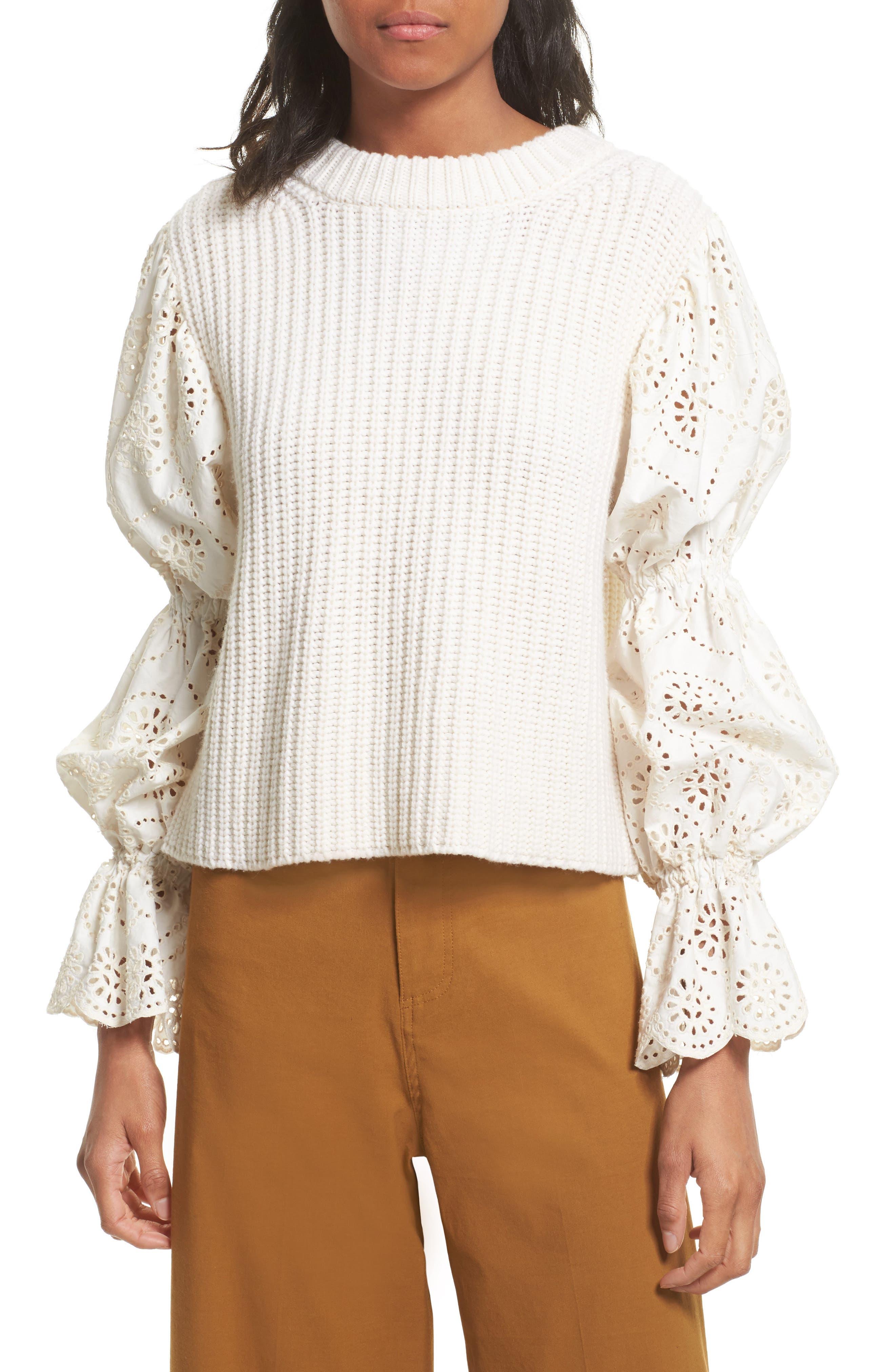 Eyelet Puff Sleeve Sweater,                         Main,                         color, Cream
