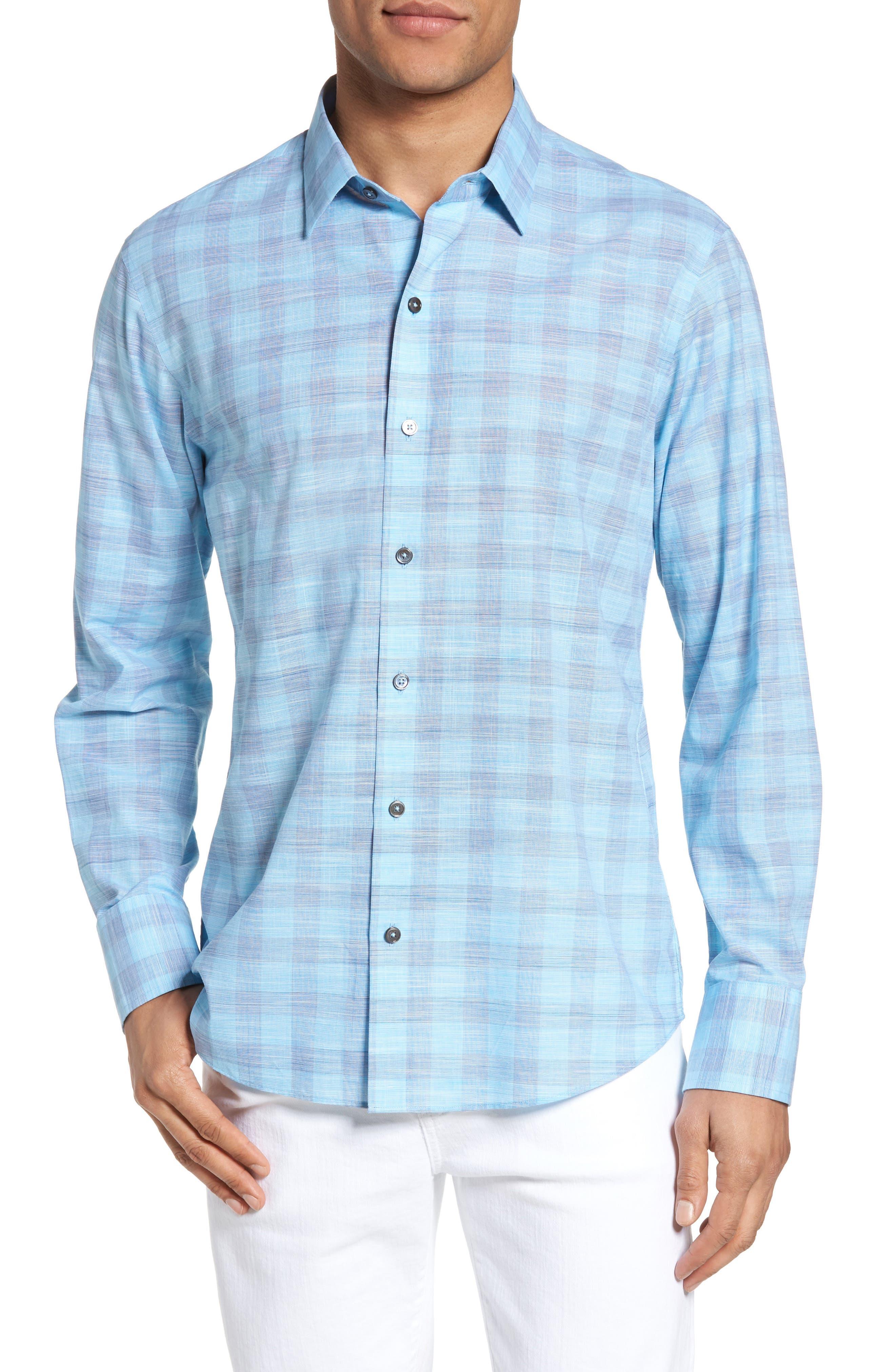 Colin Trim FIt Plaid Sport Shirt,                         Main,                         color, Turquoise