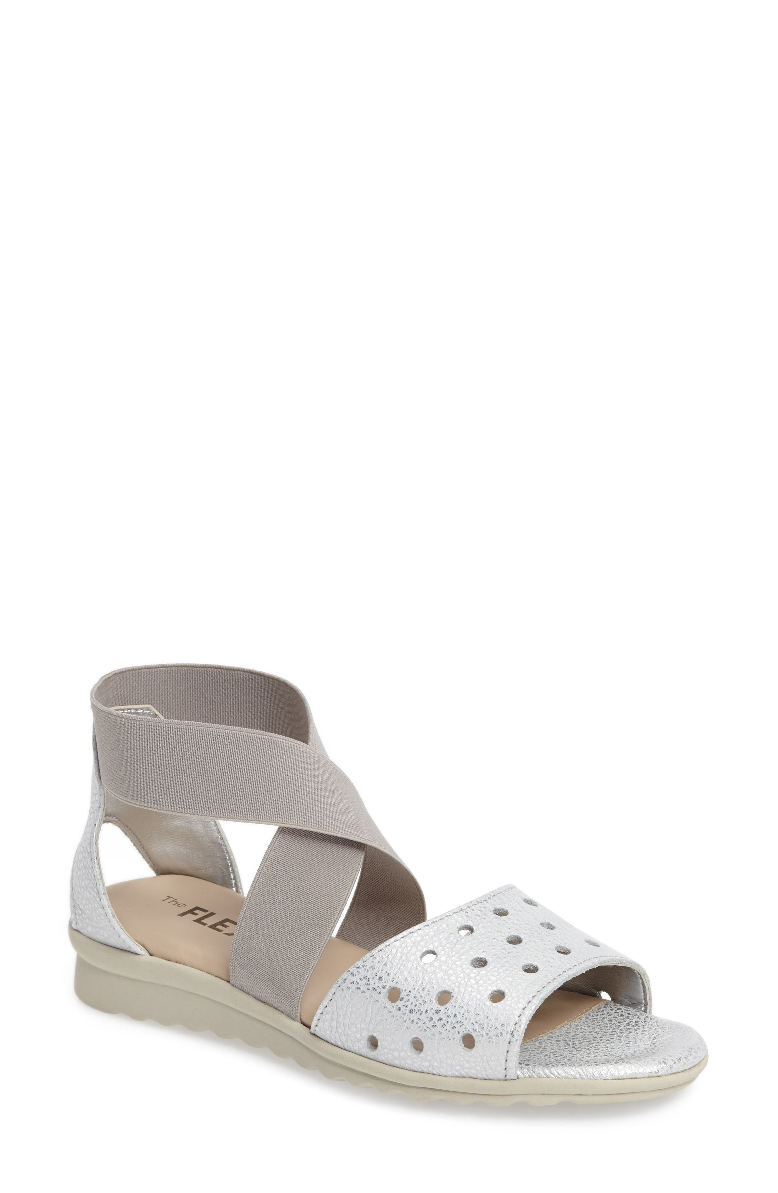 Fan Fair Sandal,                         Main,                         color, Silver Leather