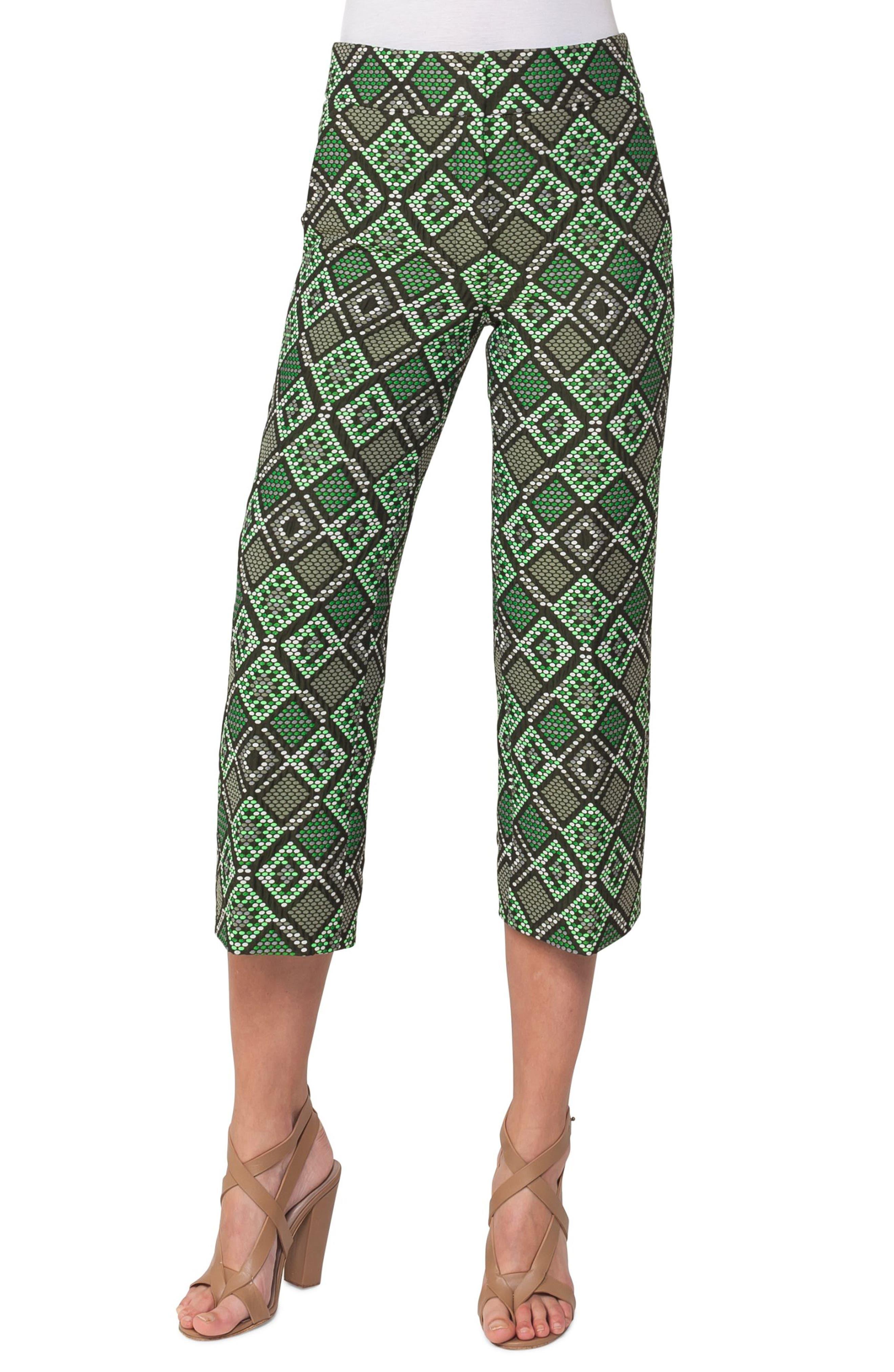 Madison Print Jacquard Crop Pants,                         Main,                         color, Green Multi