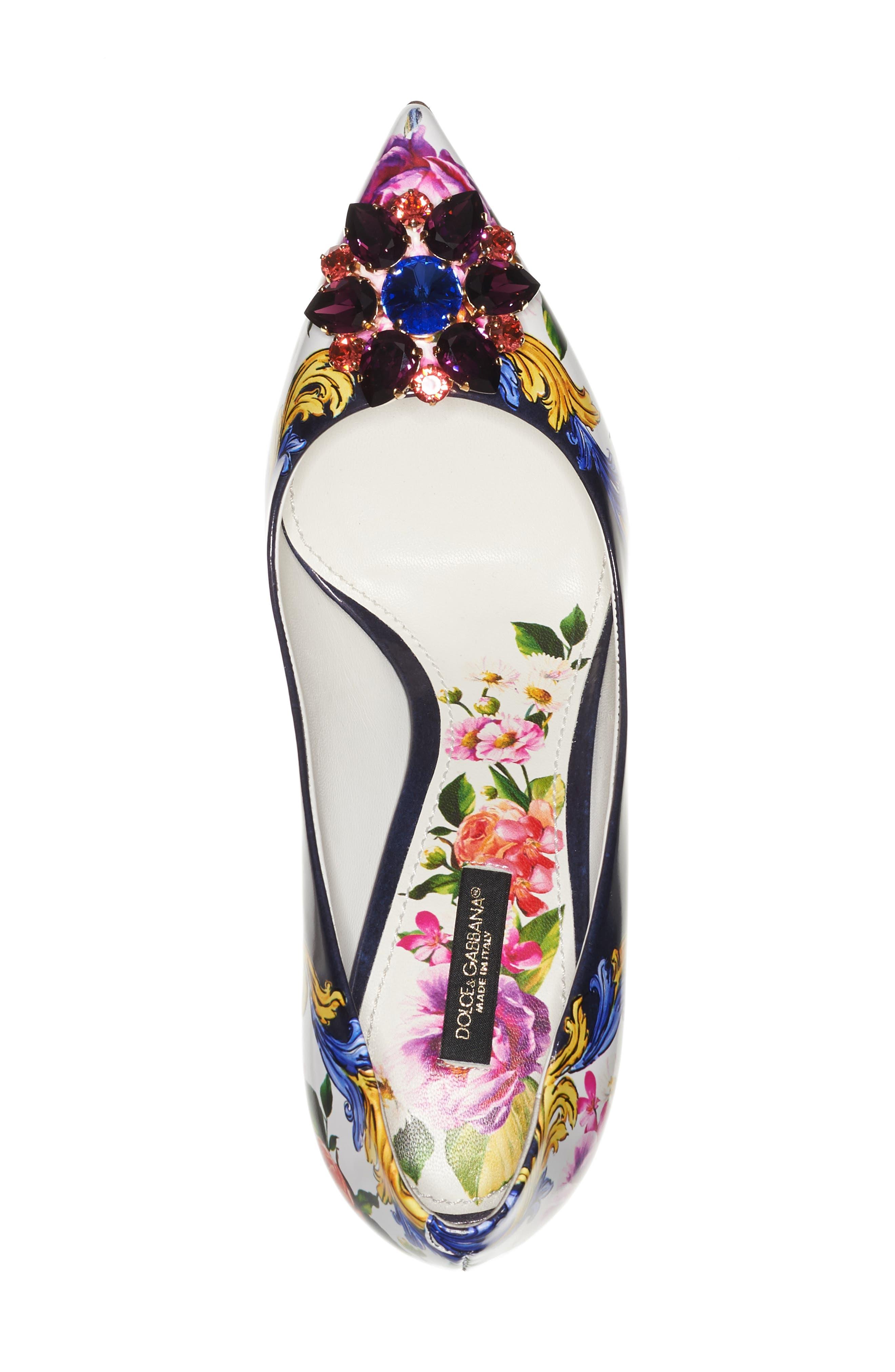 Dolce & Gabbana Print Pump,                             Alternate thumbnail 3, color,                             Navy/ White Floral