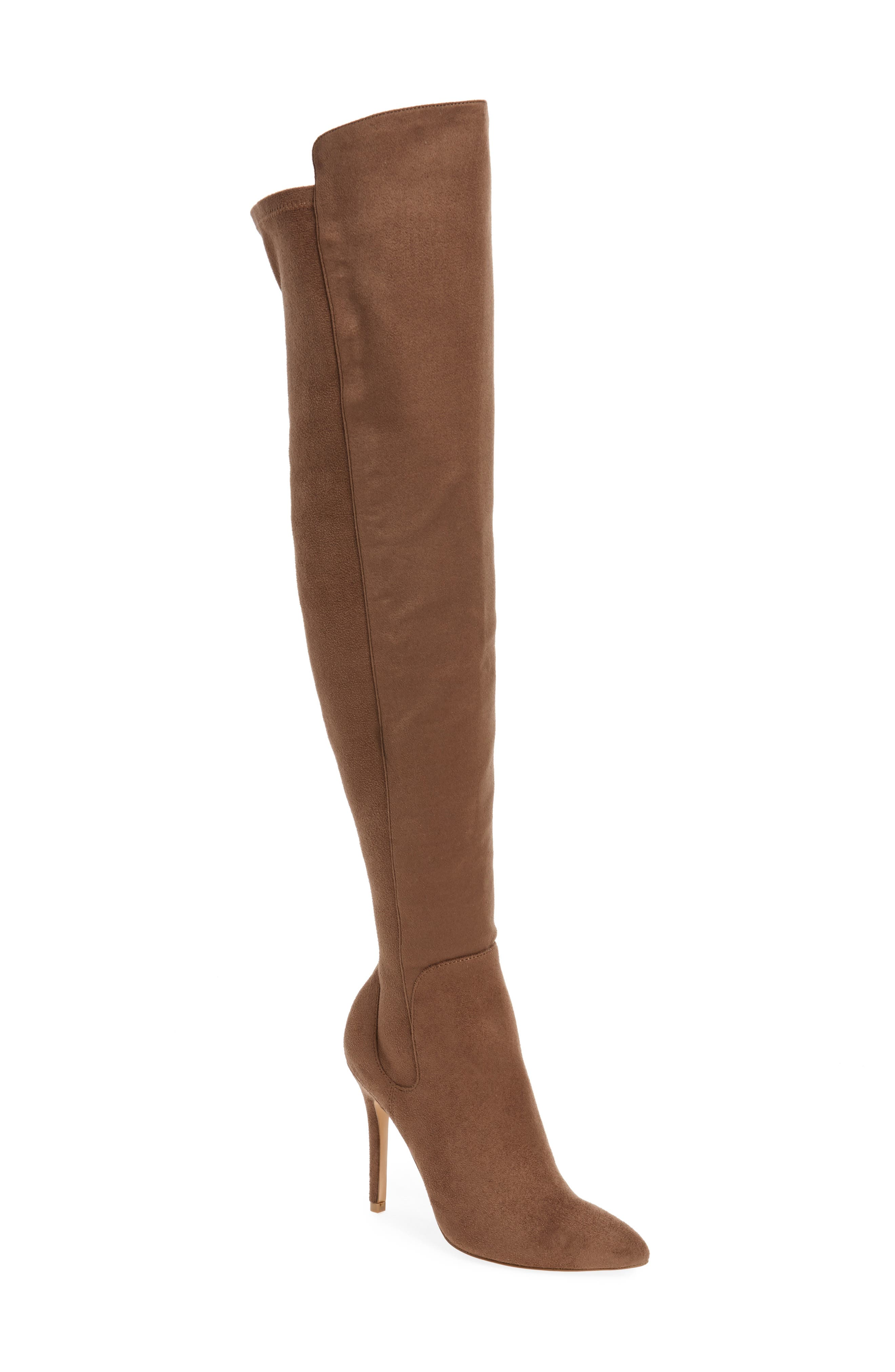 Perfect Over the Knee Boot,                         Main,                         color, Dark Taupe Suede