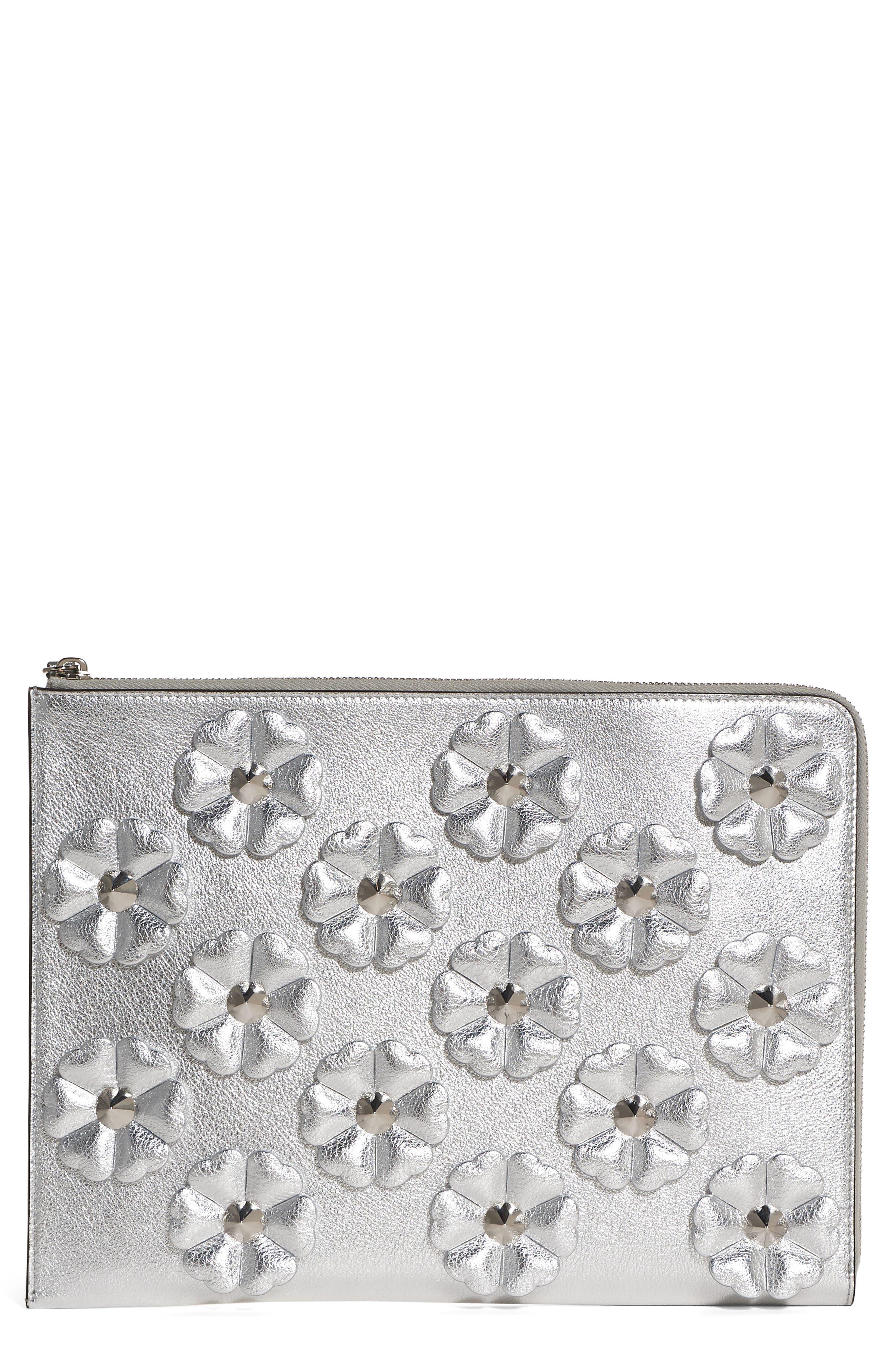 FENDI Studded Flowers Calfskin Clutch