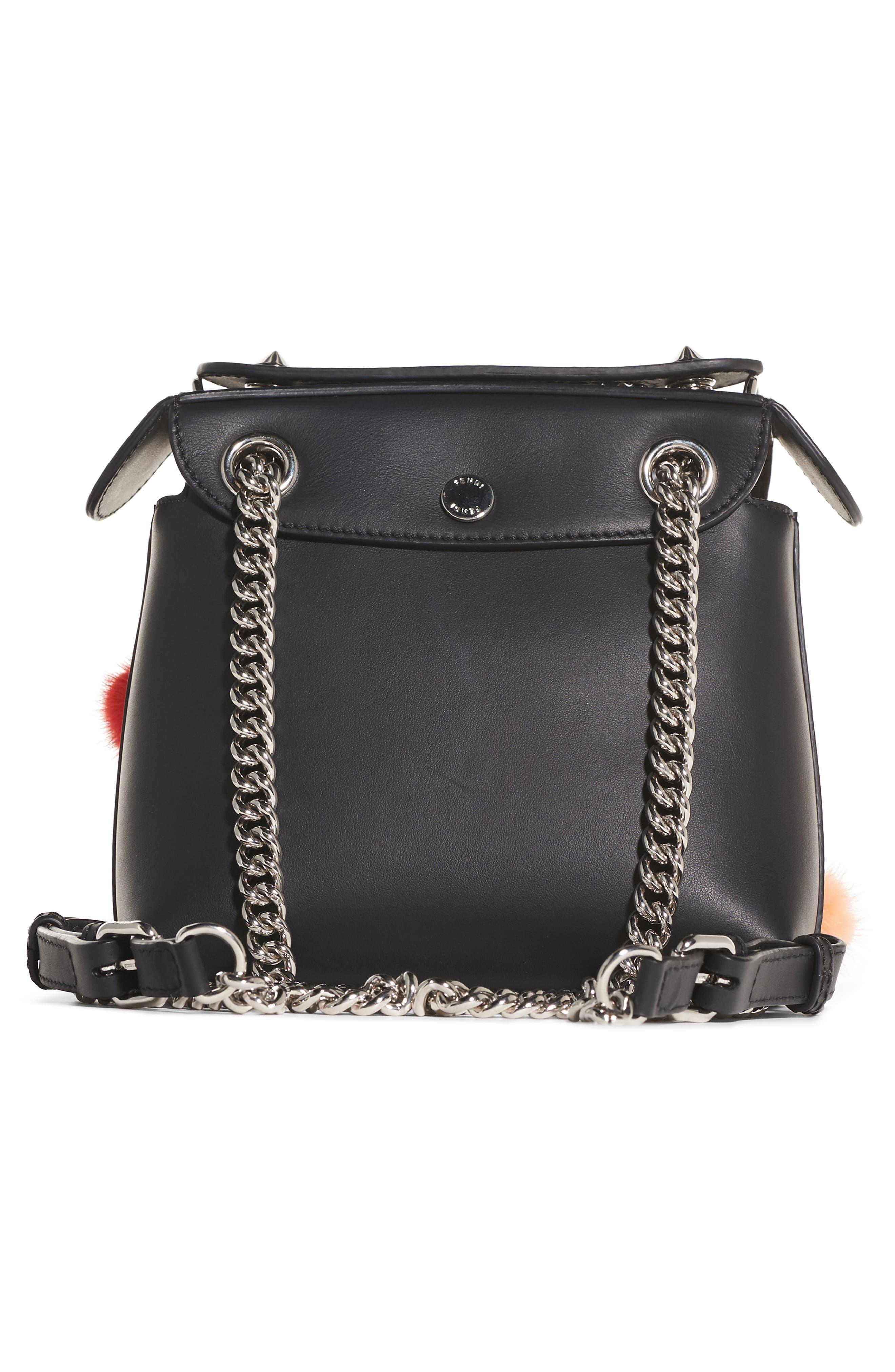 Mini Back to School Genuine Mink Fur Pompom Leather Shoulder Bag,                             Alternate thumbnail 3, color,                             Black Multi