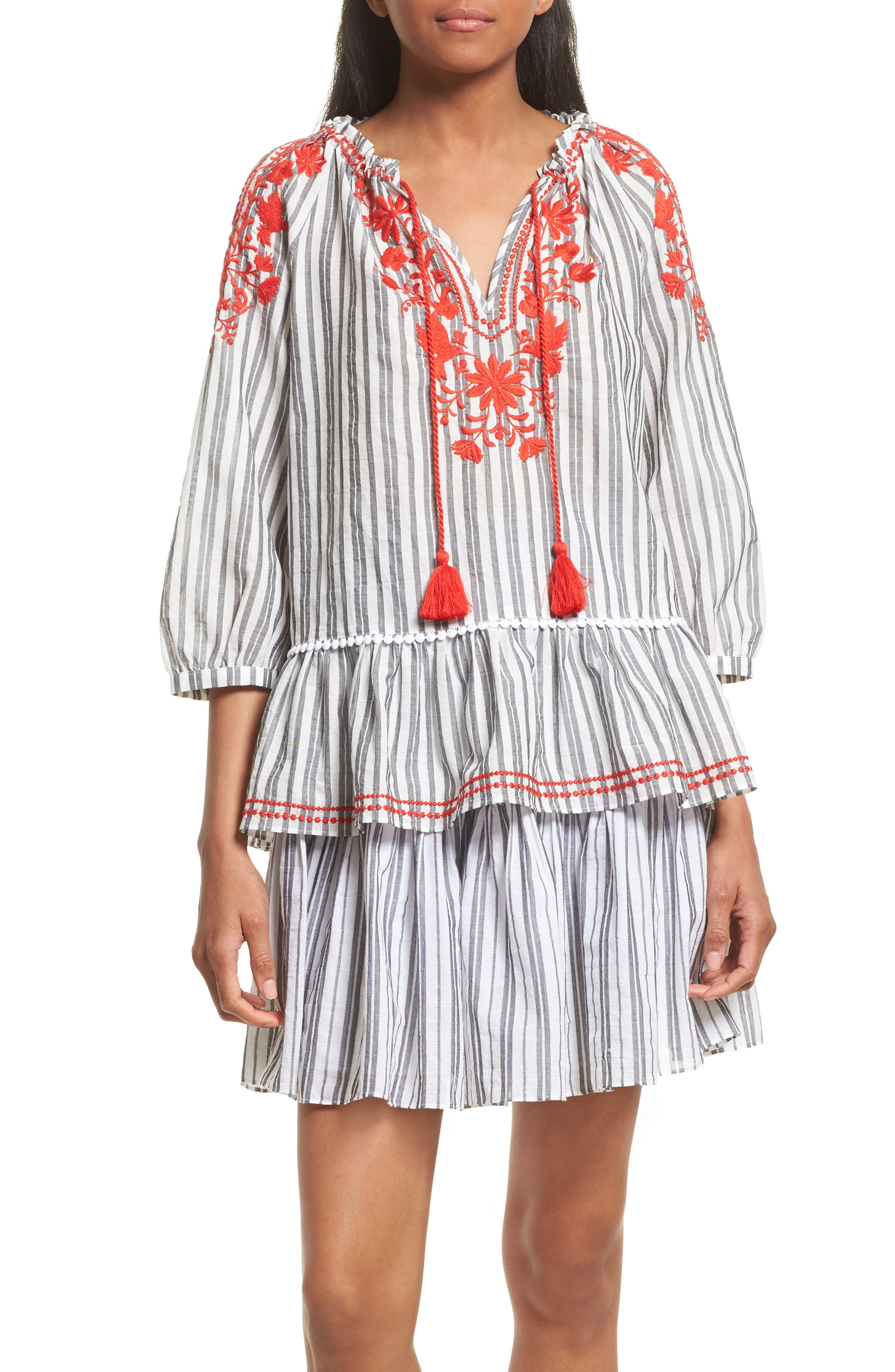 embroidered peasant top,                         Main,                         color, Fresh White/ Black