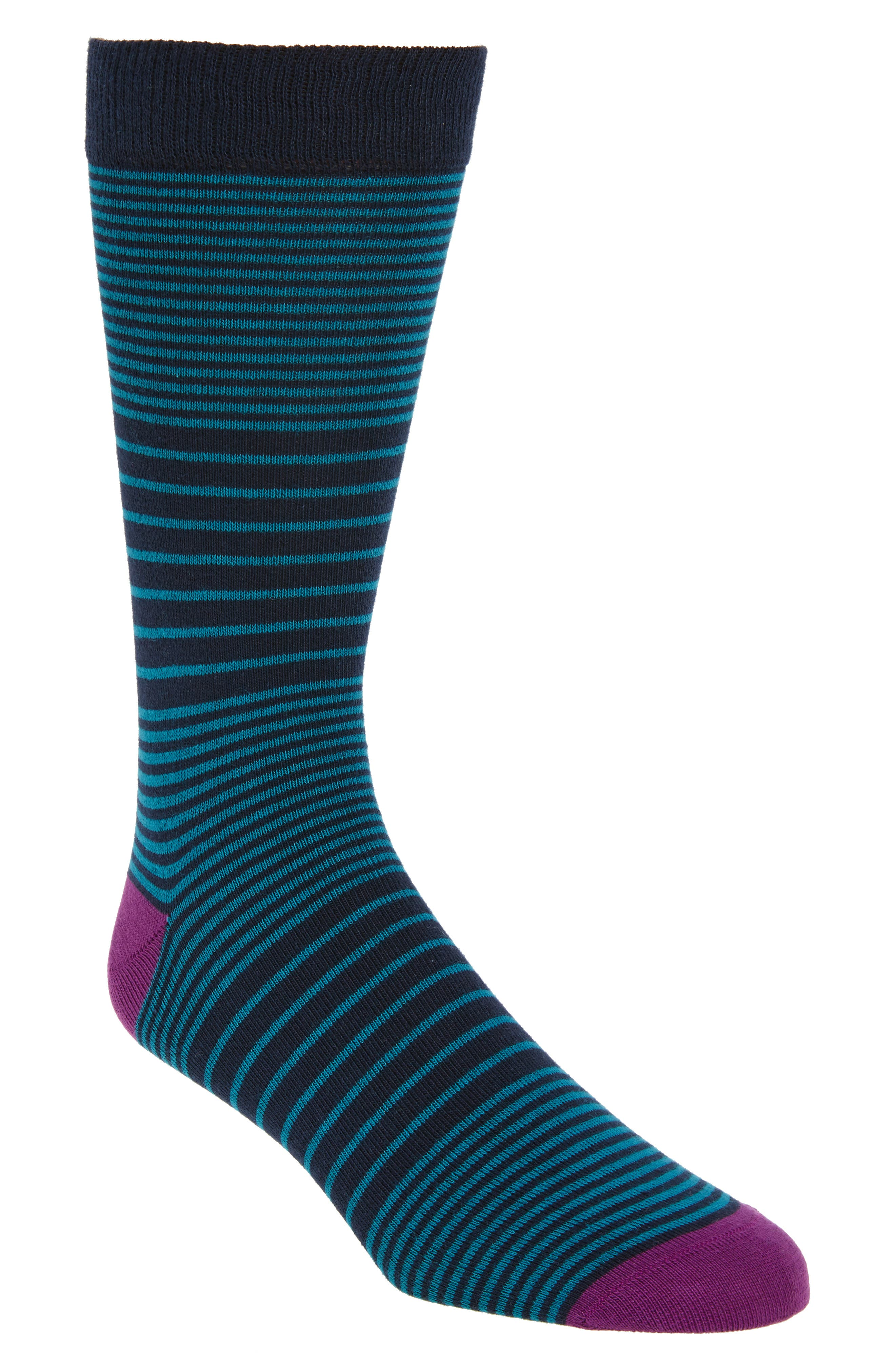 Multi Stripe Socks,                             Main thumbnail 1, color,                             Teal/ Navy