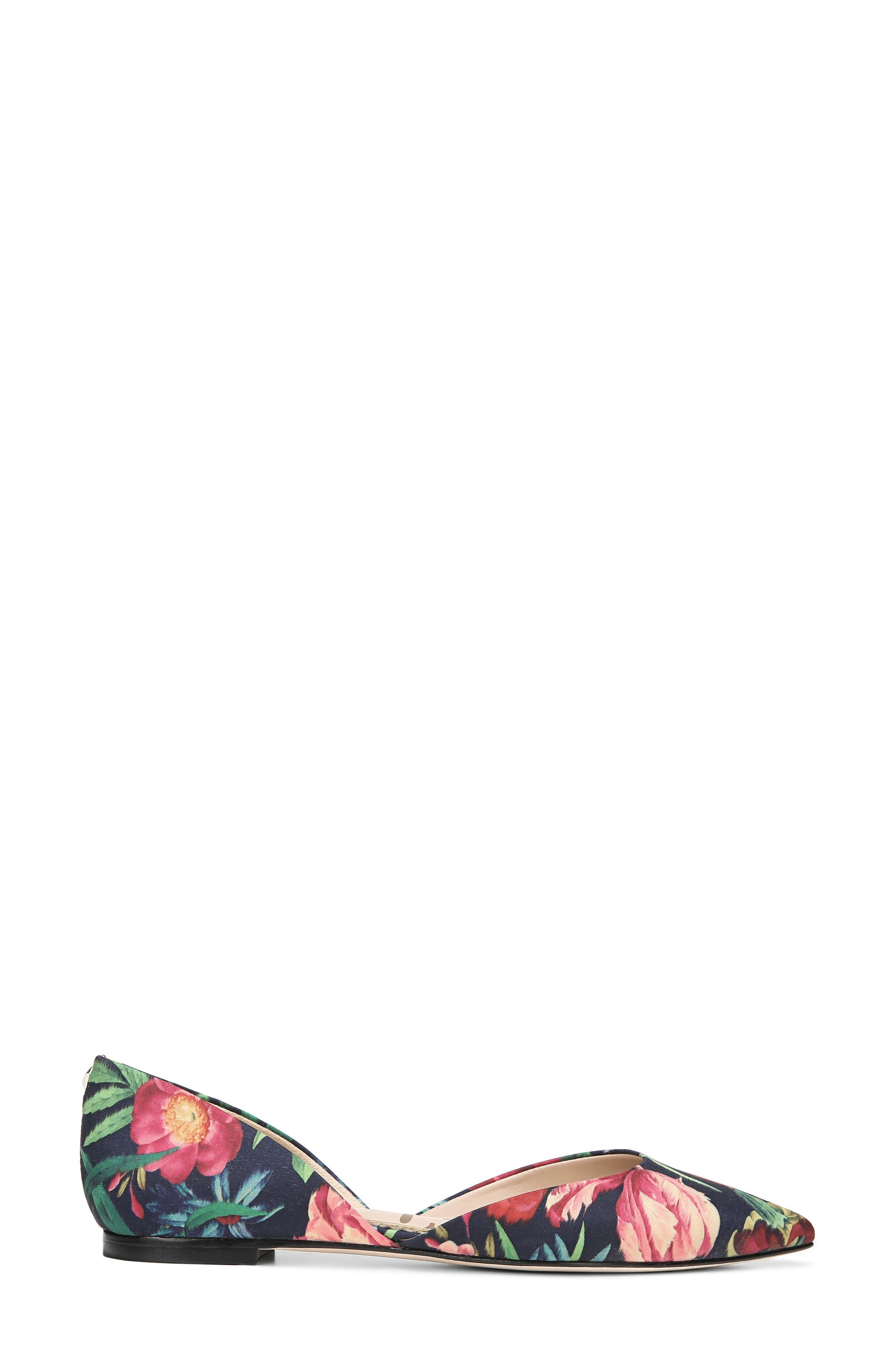 Rodney Pointy Toe d'Orsay Flat,                             Alternate thumbnail 3, color,                             Navy Multi Fabric