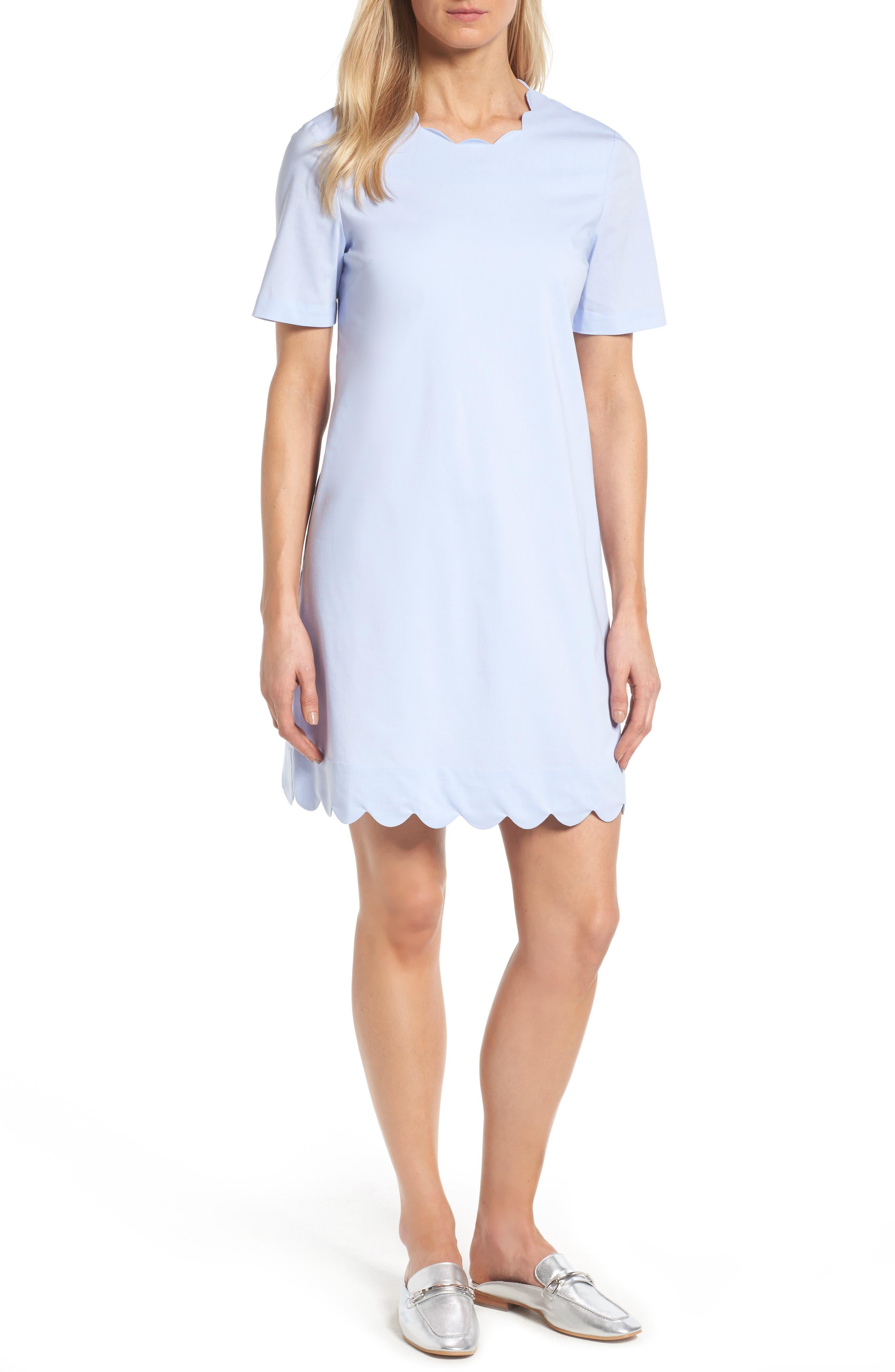 Halogen® Scalloped Shift Dress (Regular & Petite)