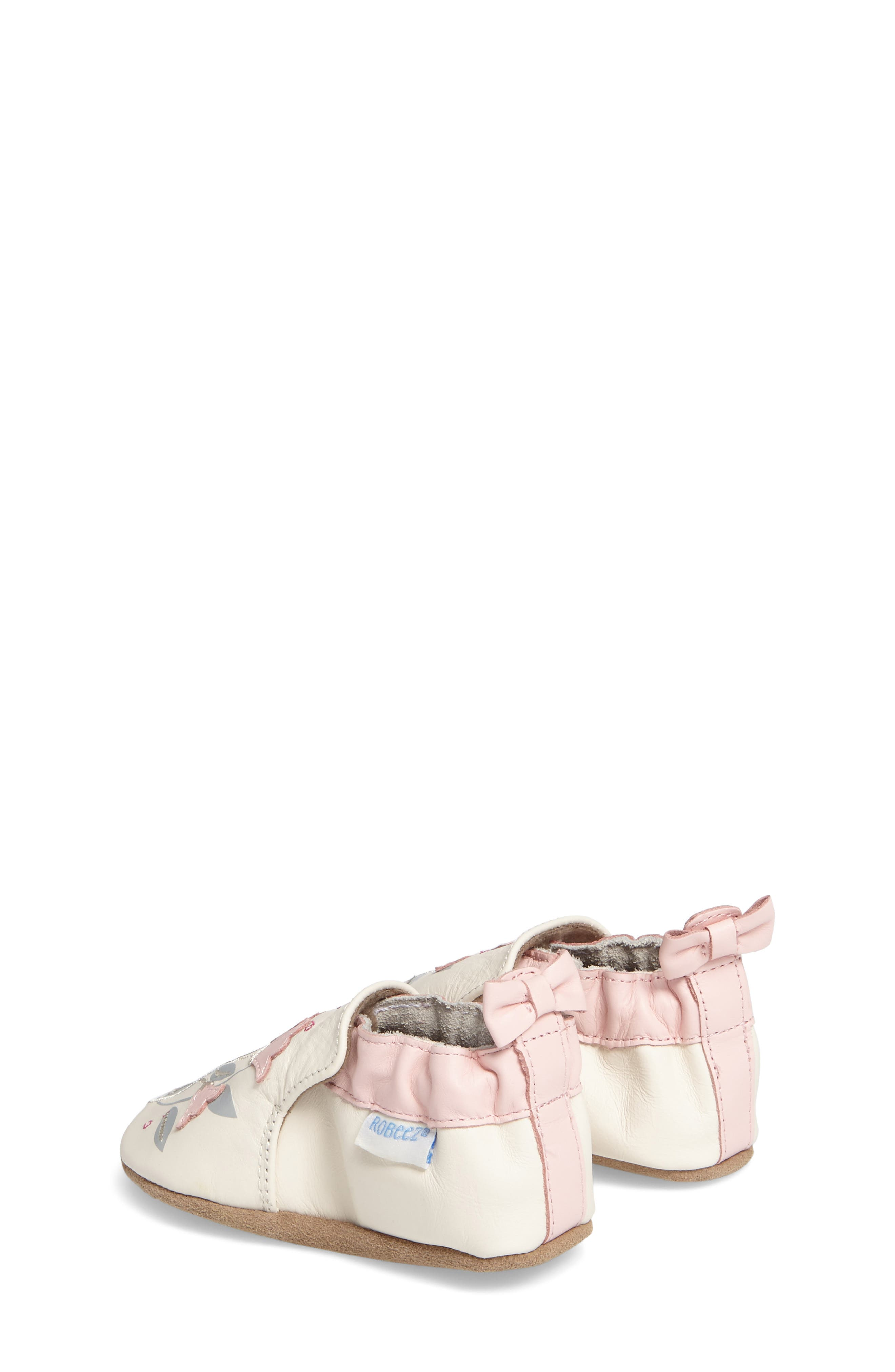 Rosealean Crib Shoe,                             Alternate thumbnail 2, color,                             Cream/ Pink Leather