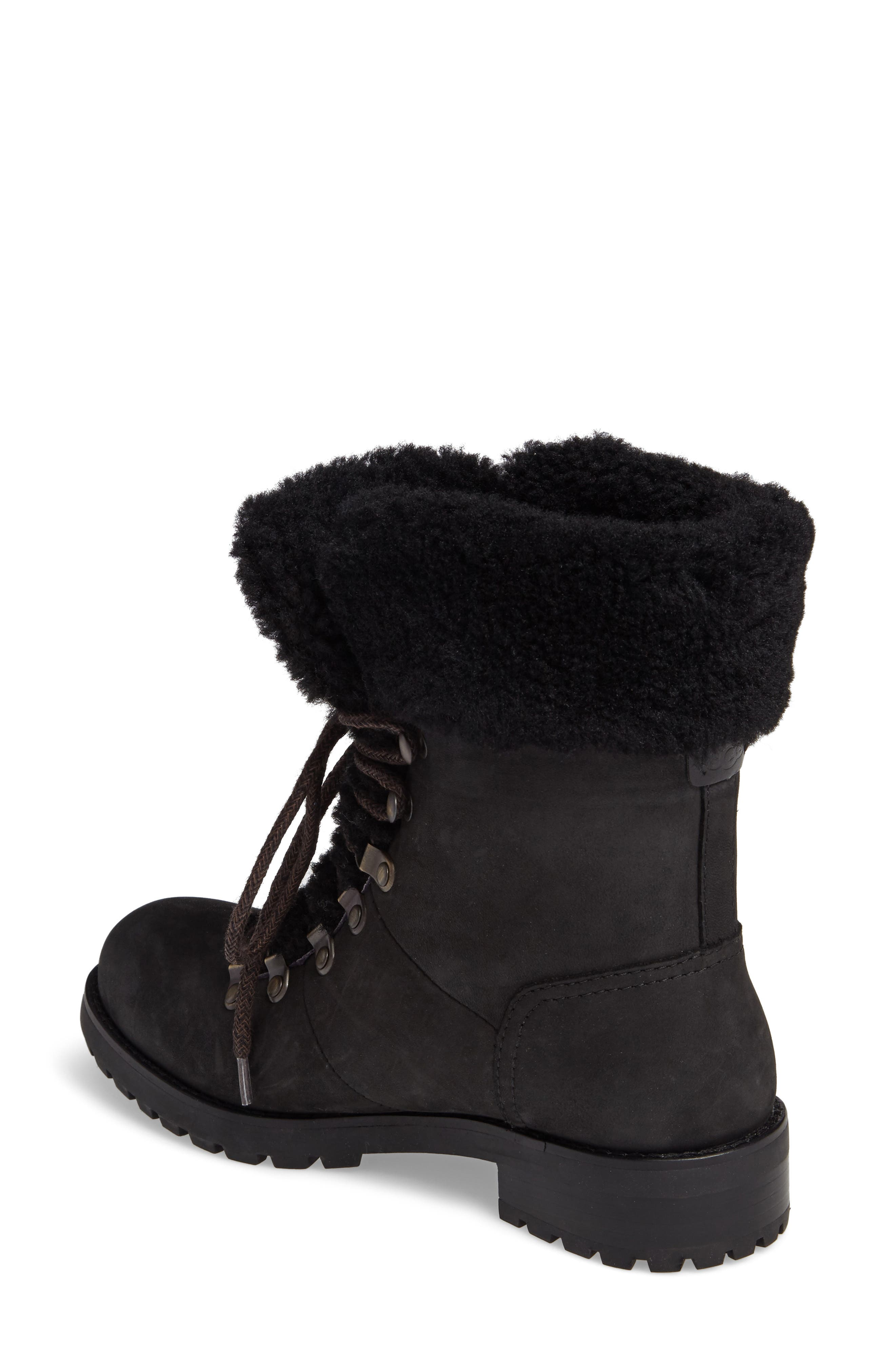 Fraser Genuine Shearling Water Resistant Boot,                             Alternate thumbnail 2, color,                             Black Leather