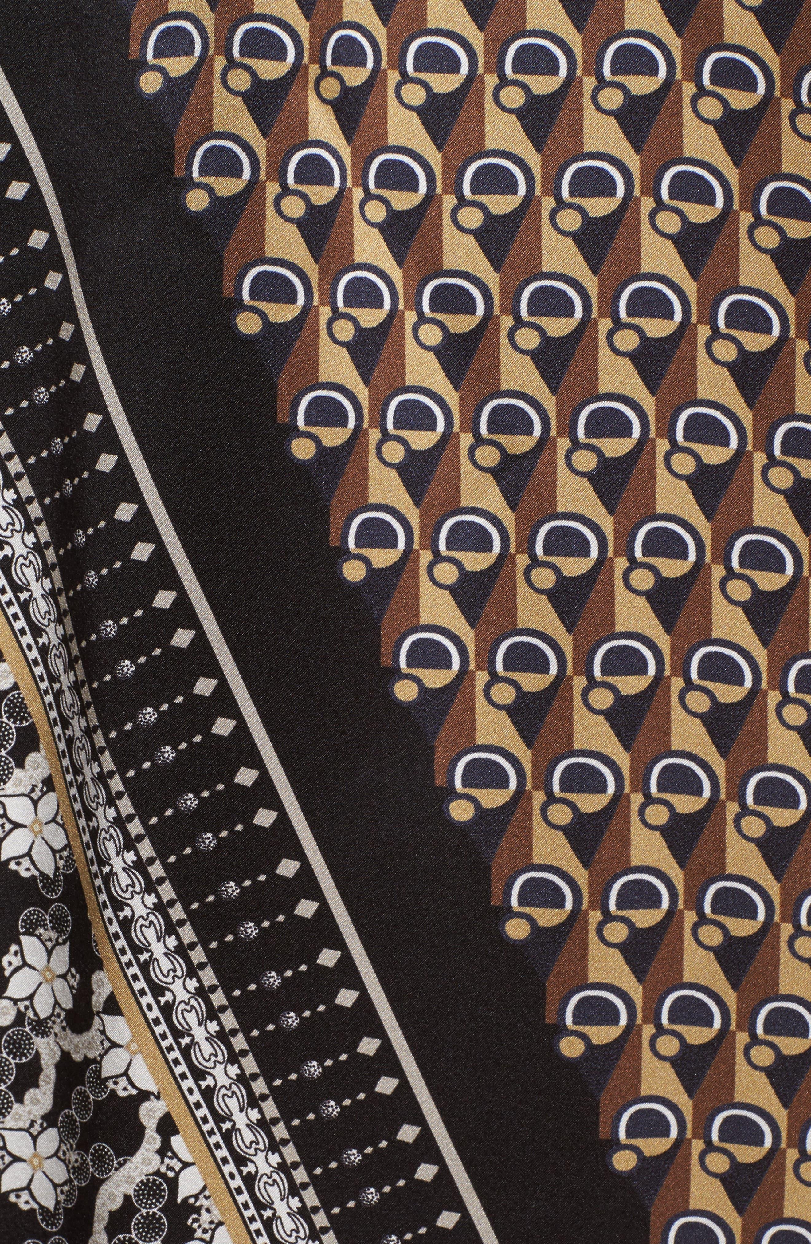 Julisa Silk Tie Neck Blouse,                             Alternate thumbnail 3, color,                             Ink Multi